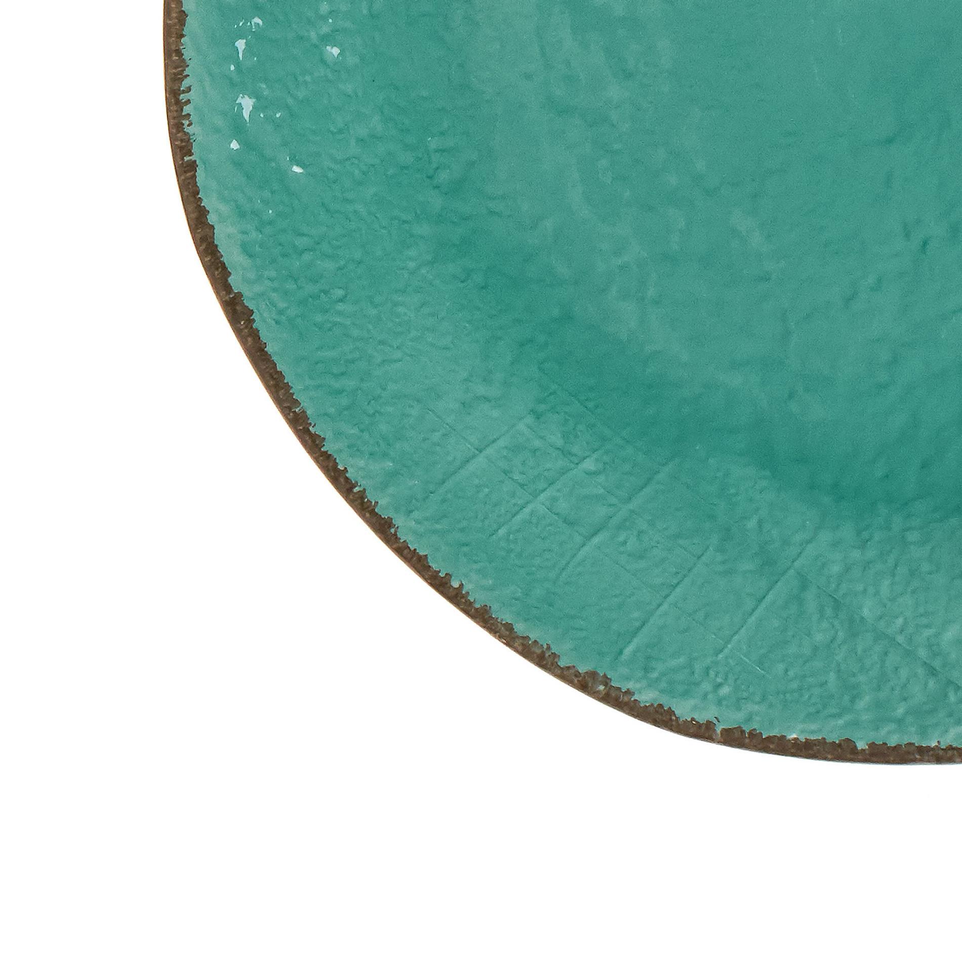 Piatto piano ceramica artigianale Preta, Verde acqua, large image number 2
