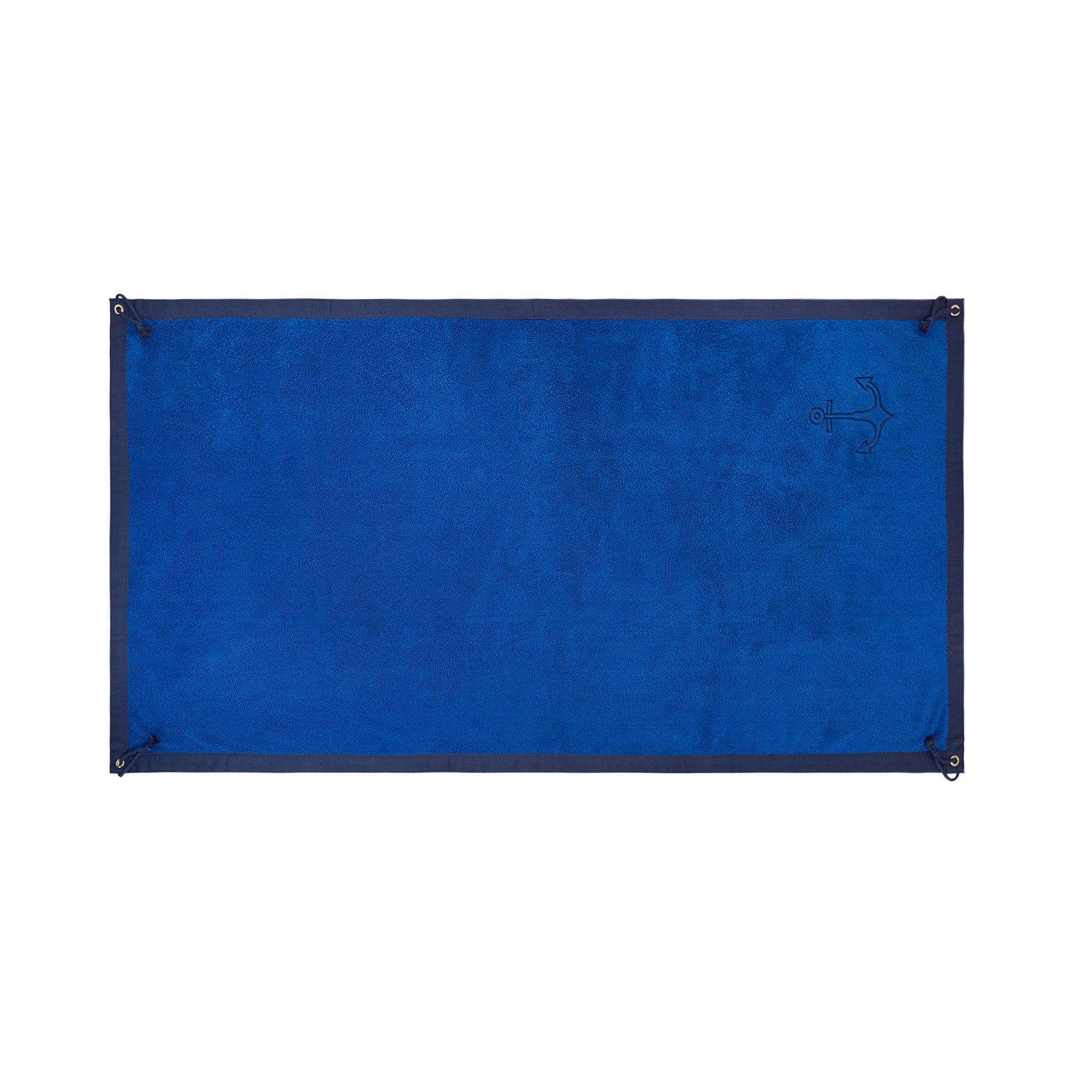 Telo mare spugna di cotone ricamo ancora, Azzurro scuro, large image number 0