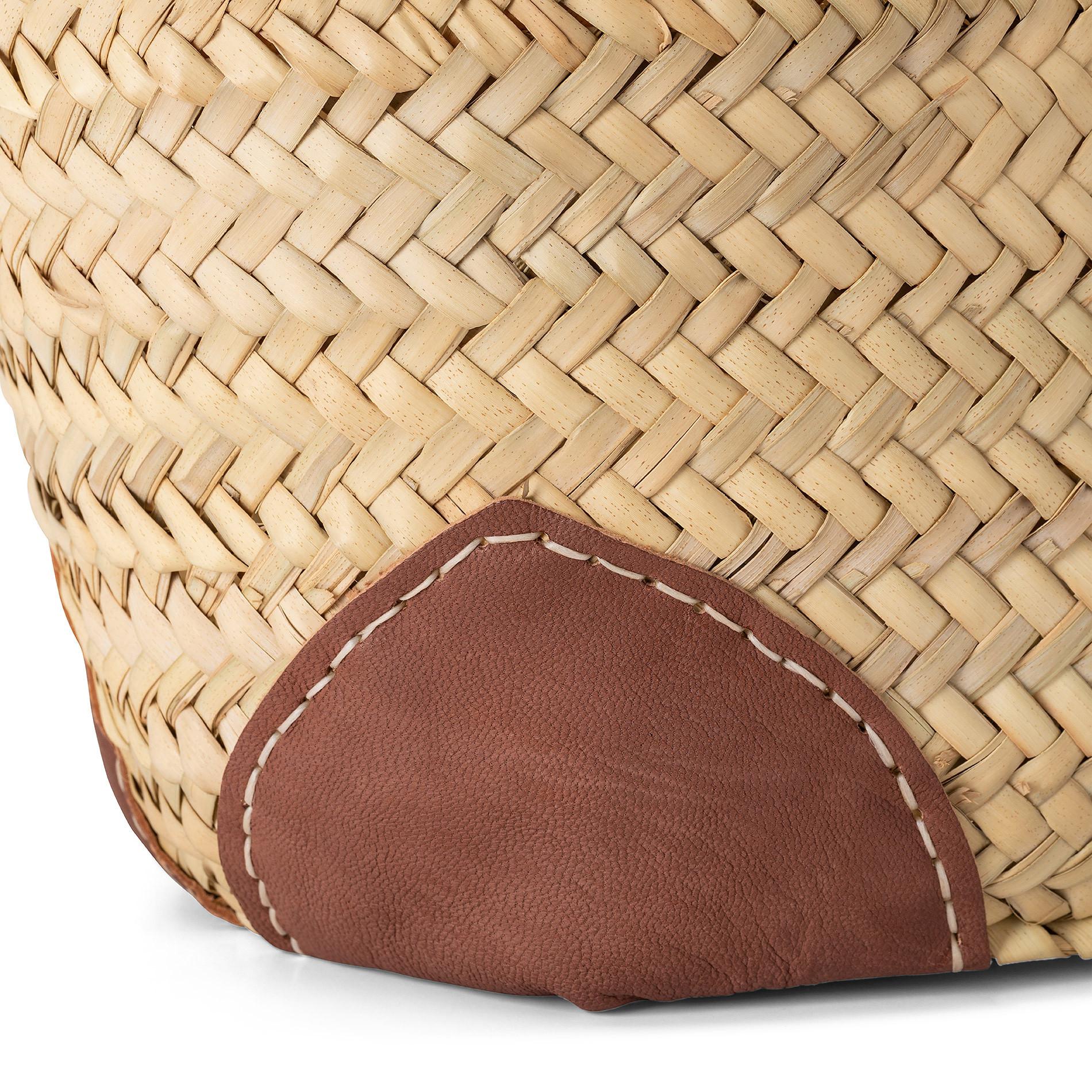 Borsa in paglia intrecciata manici in pelle, Marrone cuoio, large image number 2