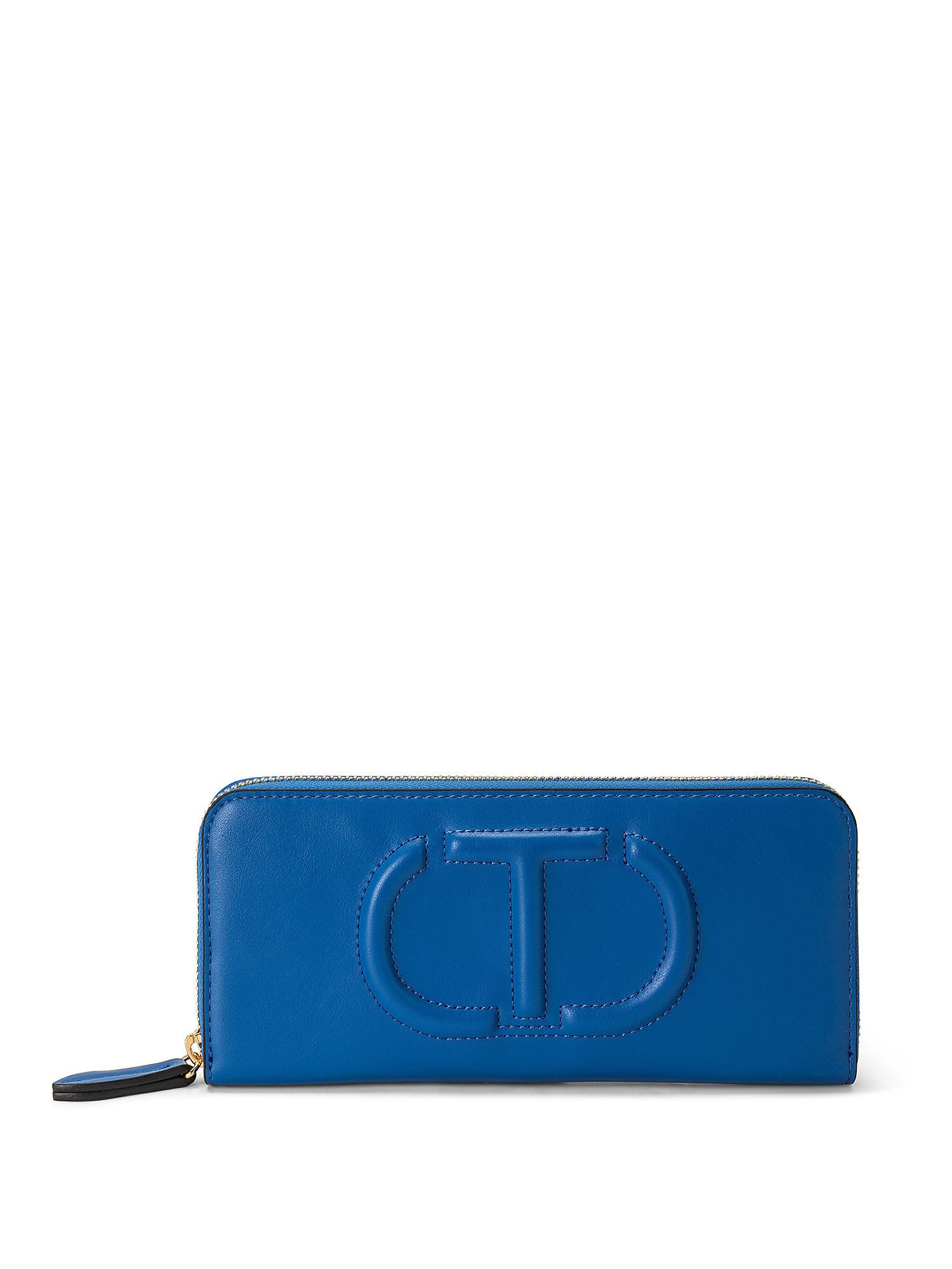 Portafoglio zip around grande t trapuntata, Blu, large image number 0