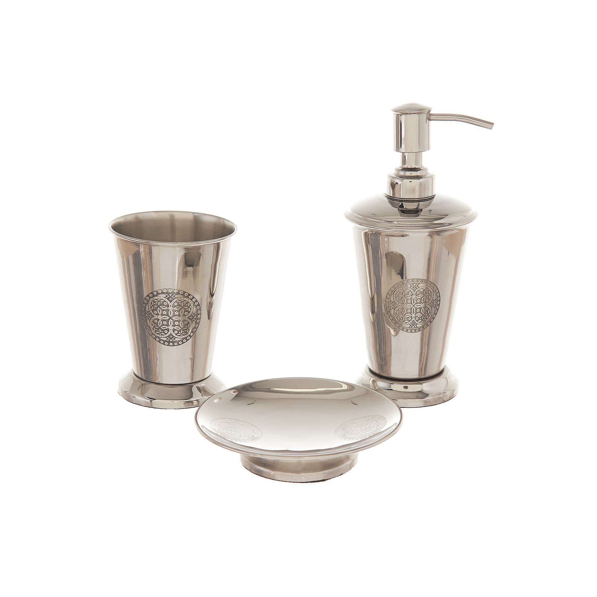 Portaspazzolini acciaio inciso, Grigio argento, large image number 1