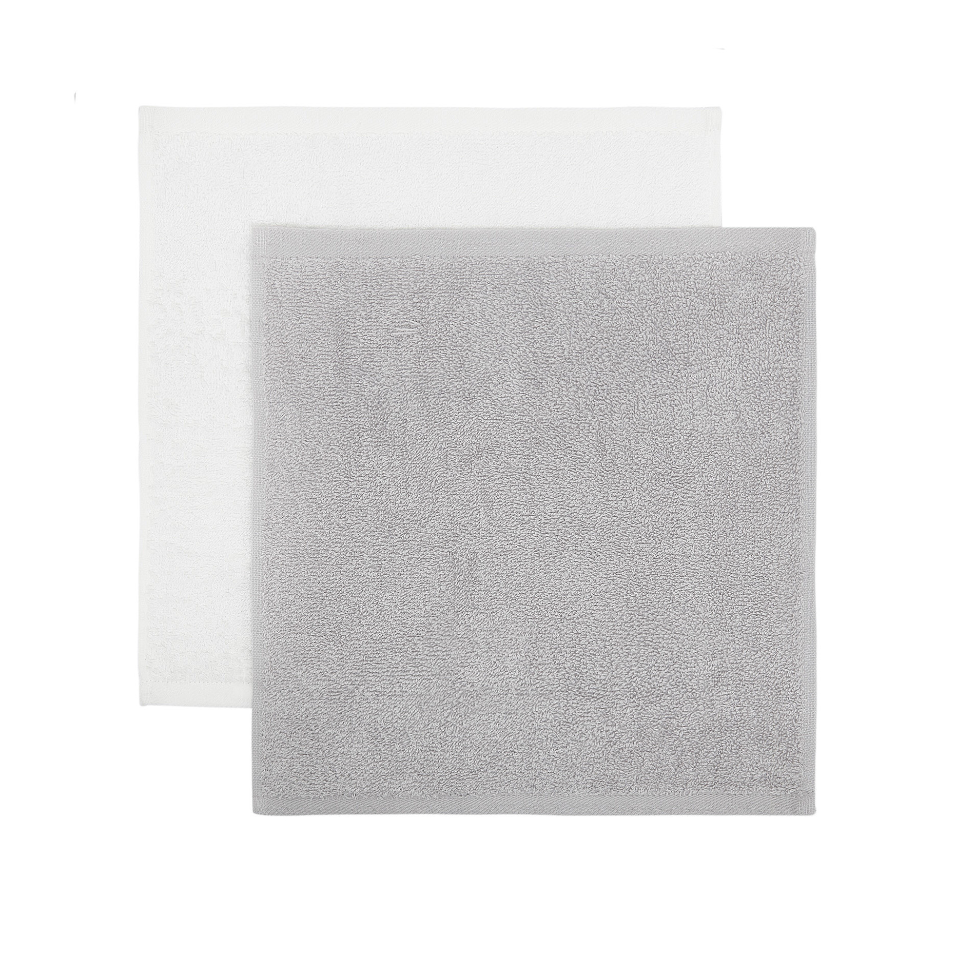 Cestino 4 lavette spugna di cotone, Grigio, large image number 1