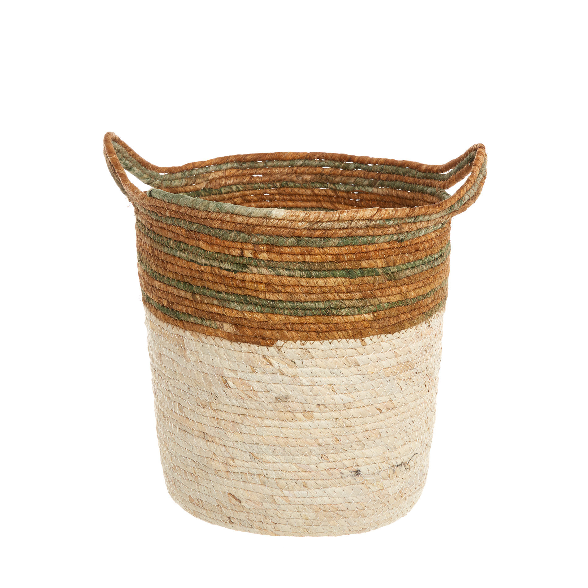 Cesto in foglie di mais intrecciato a mano, Bianco, large image number 0