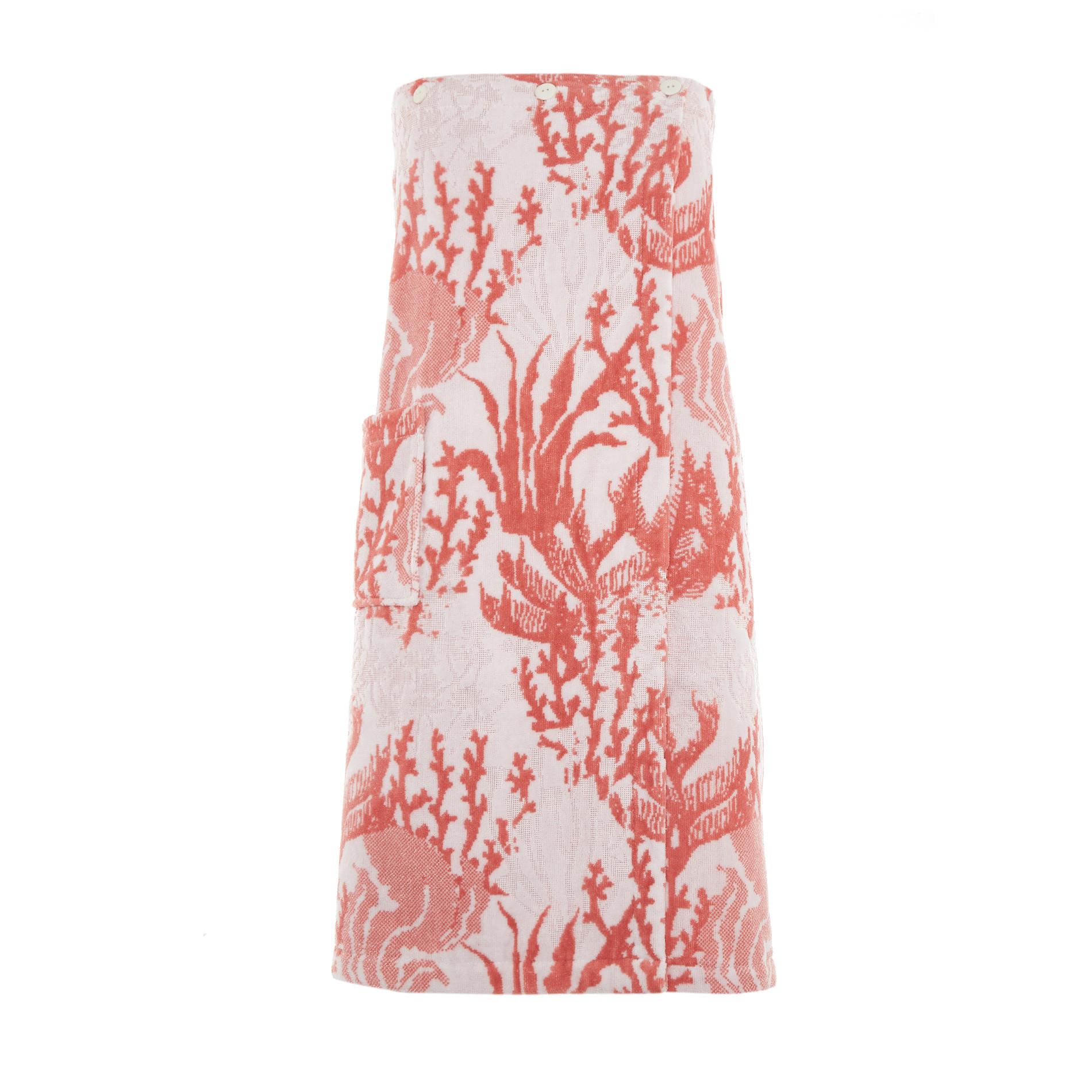 Pareo doccia cotone velour motivo coralli, Rosso corallo, large image number 0