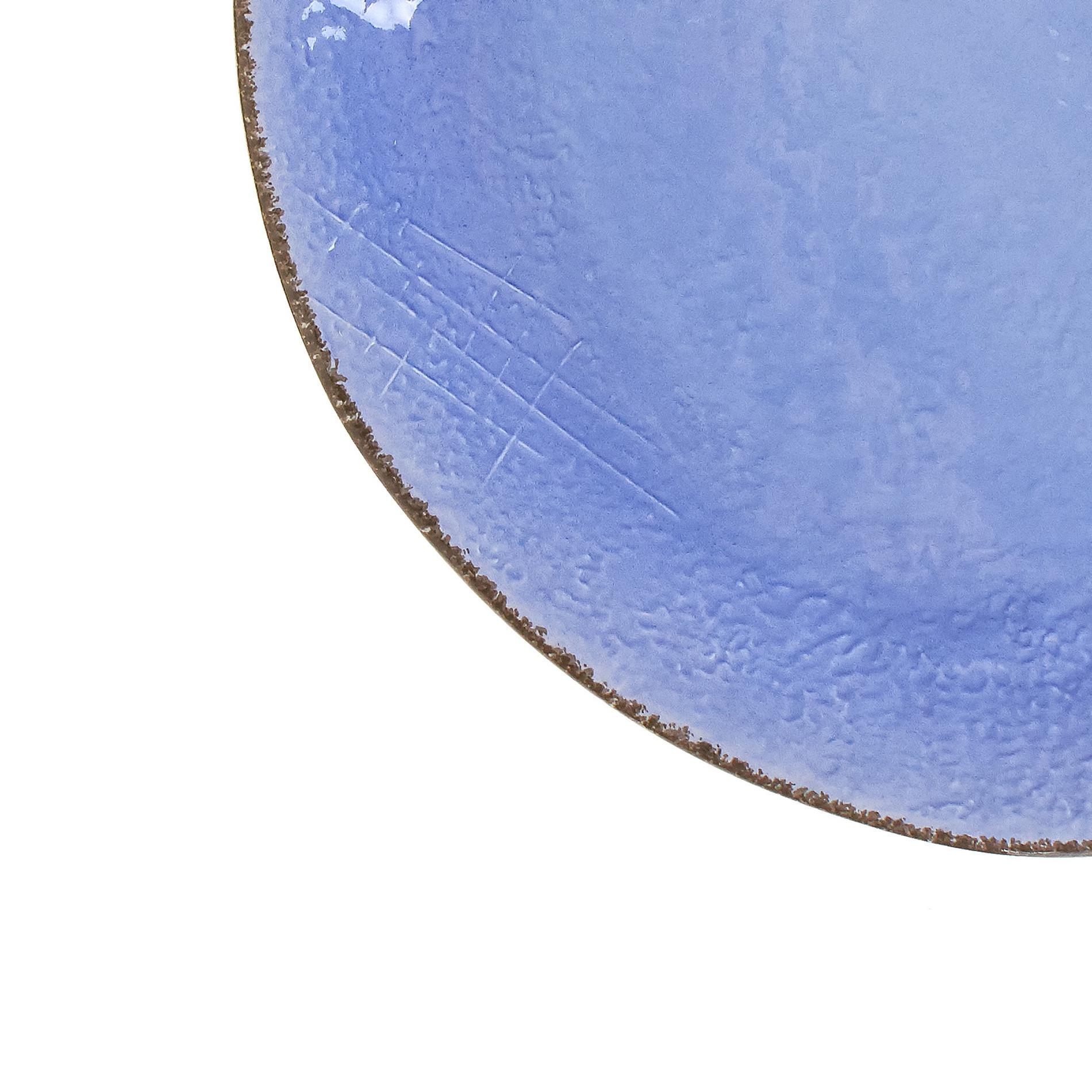 Piatto da portata ceramica artigianale Preta, Azzurro, large image number 2