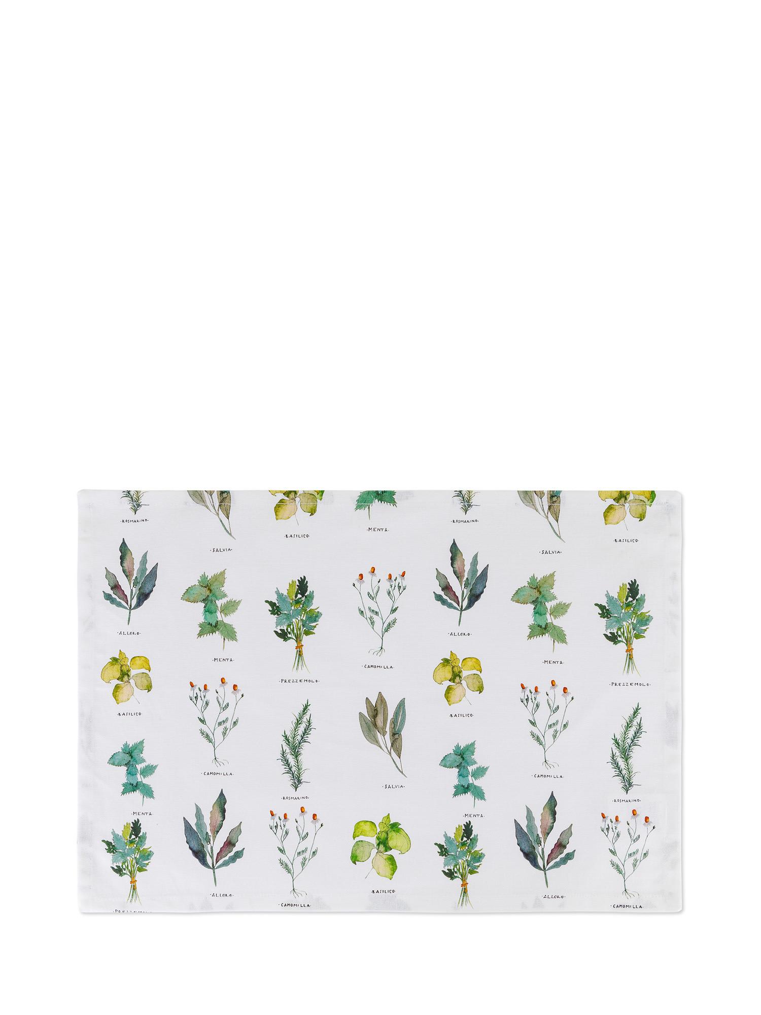 Tovaglietta puro cotone organico stampa erbe, Bianco, large image number 0