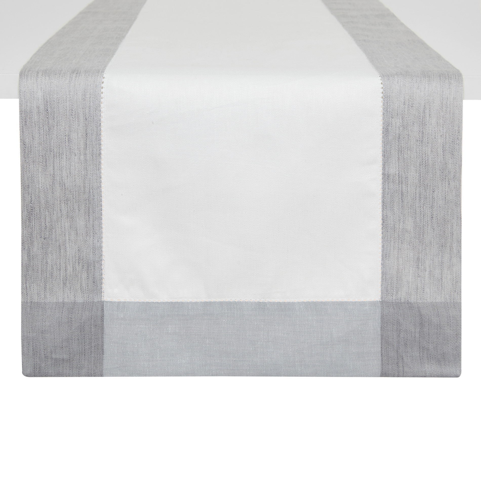 Runner lino e cotone bordo mèlange, Bianco, large image number 0
