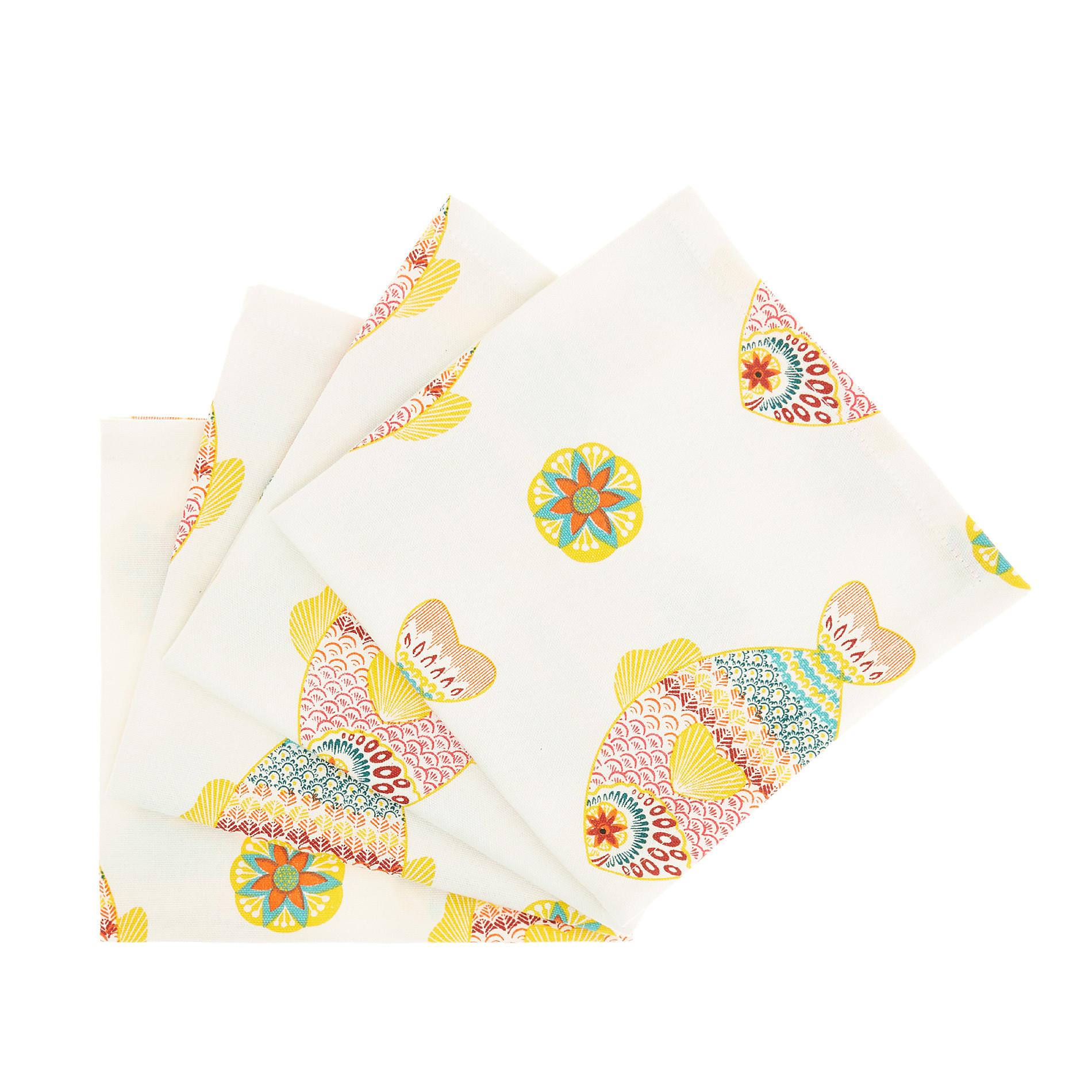 Set 4 tovaglioli puro cotone stampa pesci, Bianco, large image number 0