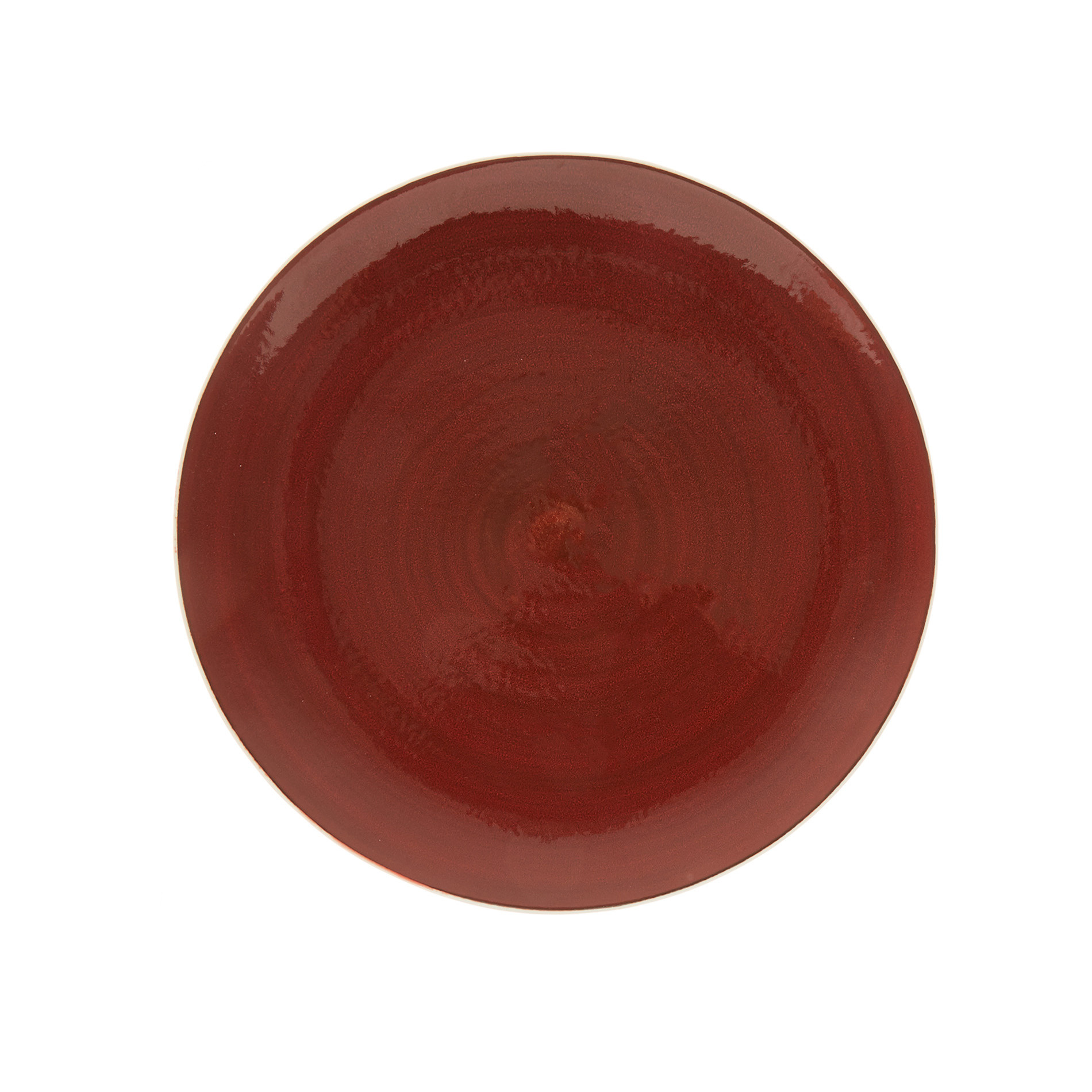 Piatto piano porcellana effetto puntinato, Bianco/Rosso, large image number 0