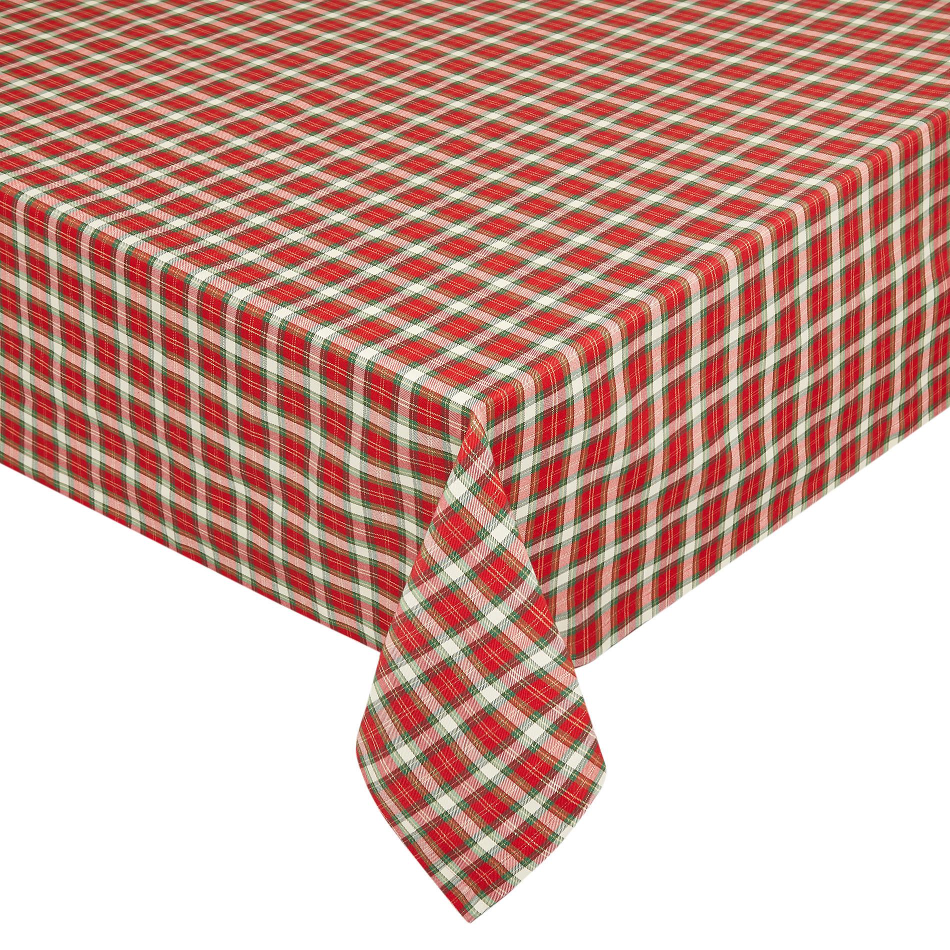 Tovaglia misto cotone tartan con lurex, Rosso, large image number 0