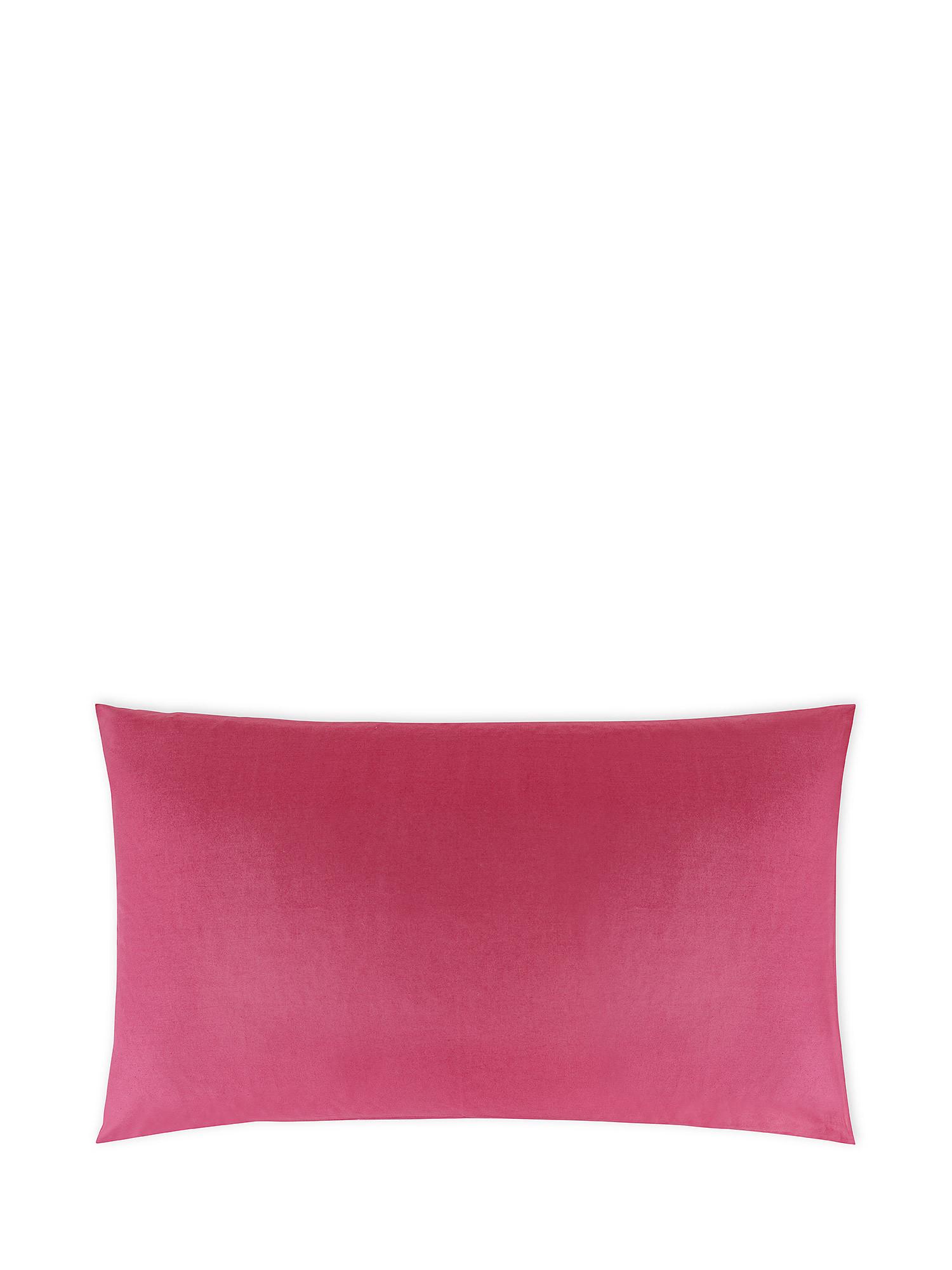 Federa puro cotone tinta unita, Rosa scuro, large image number 0