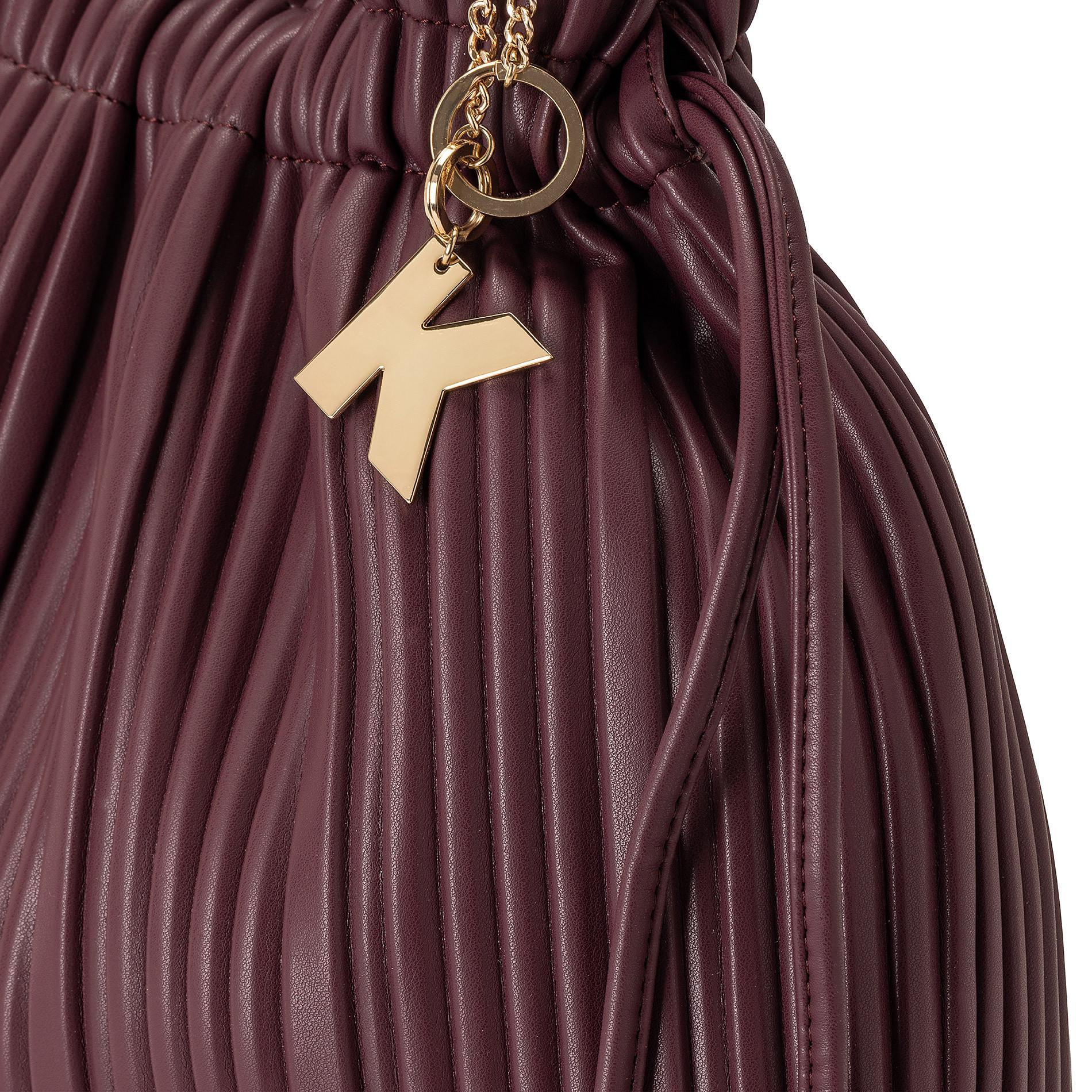 Borsa a tracolla tessuto plissè Koan, Rosso scuro, large image number 2
