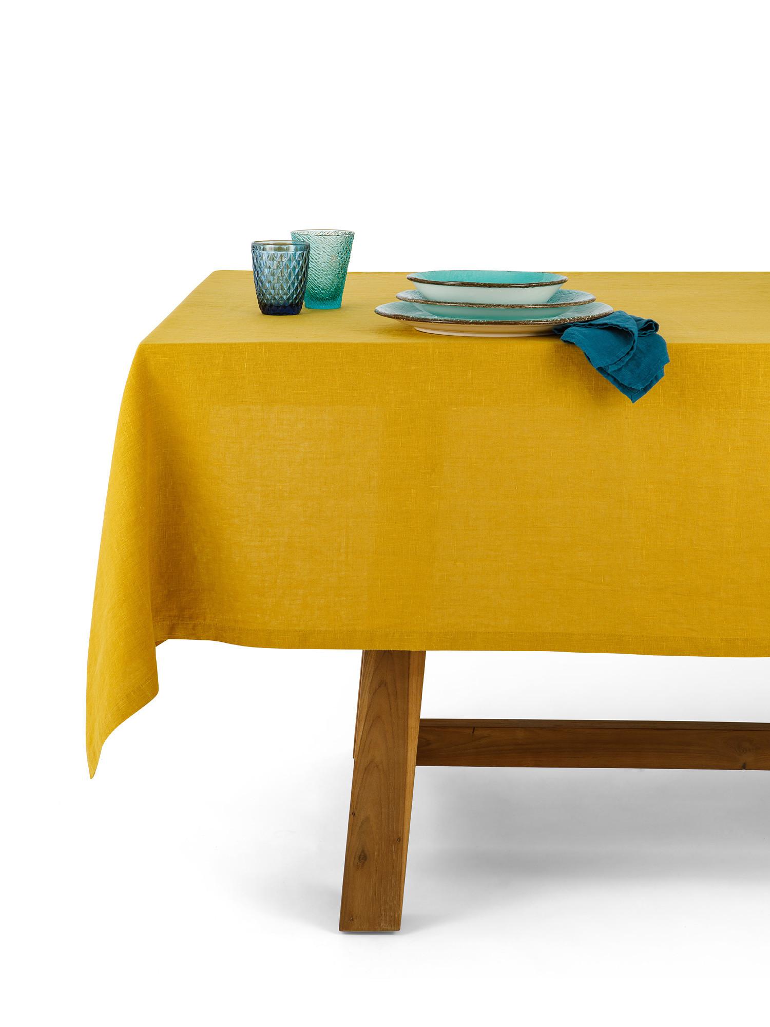 Tovaglia puro lino lavato tinta unita, Giallo ocra, large image number 0