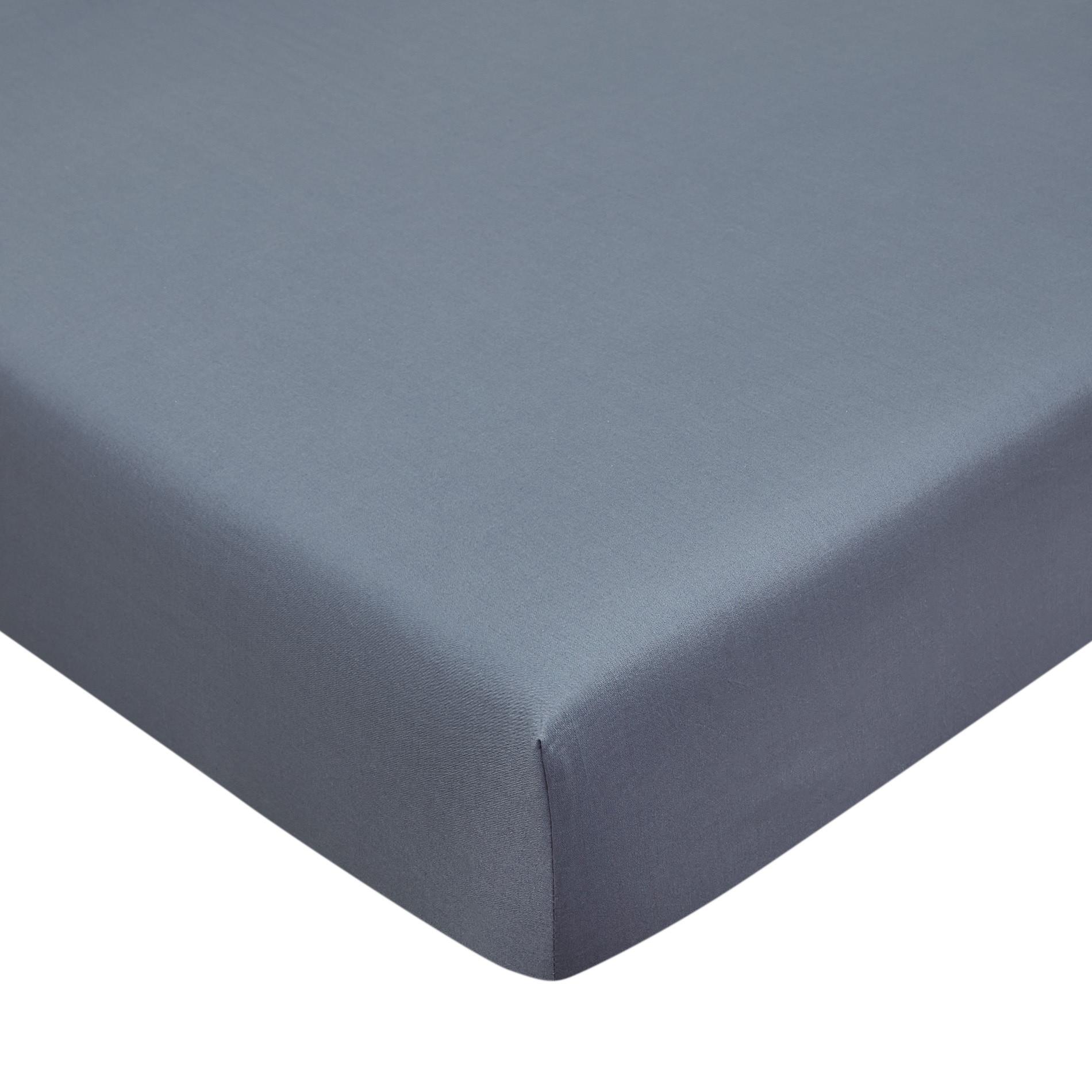 Lenzuolo con angoli cotone biologico tinta unita, Blu, large image number 0
