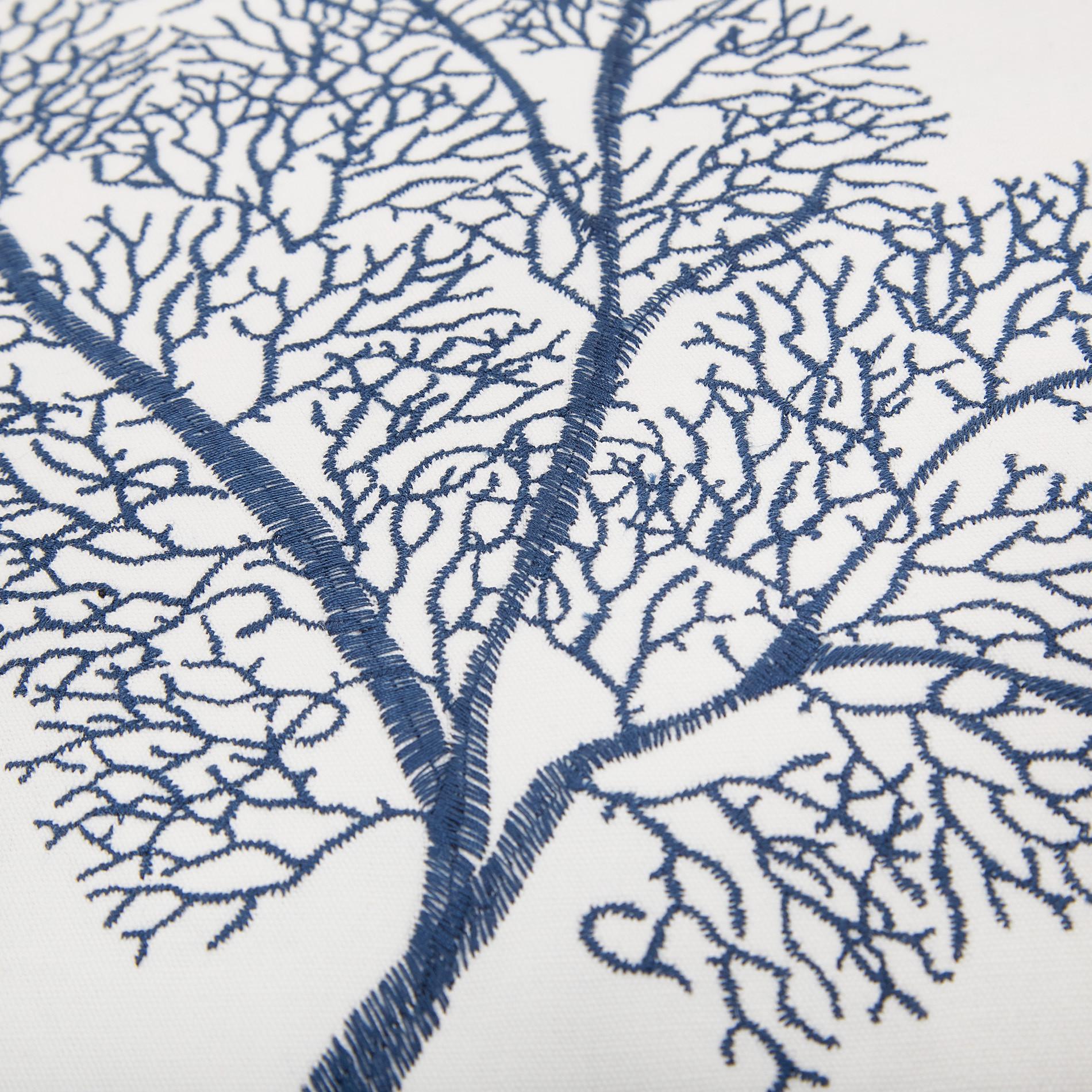 Cuscino ricamo corallo 45x45cm, Blu scuro, large image number 3