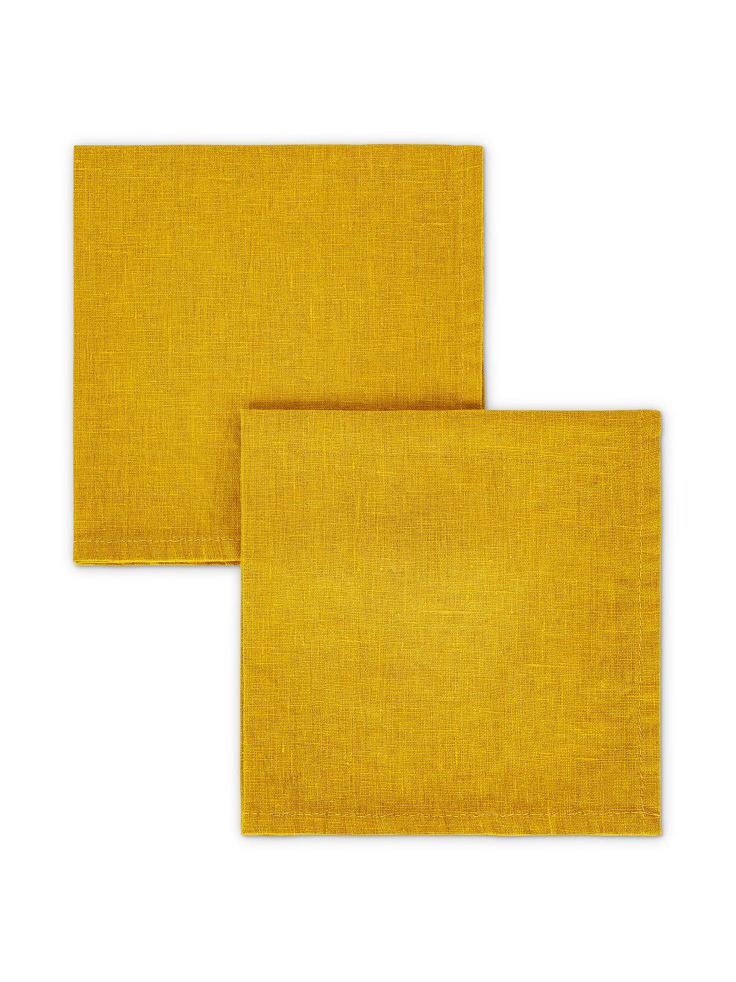Set 2 tovaglioli lino lavato tinta unita, Giallo ocra, large image number 0