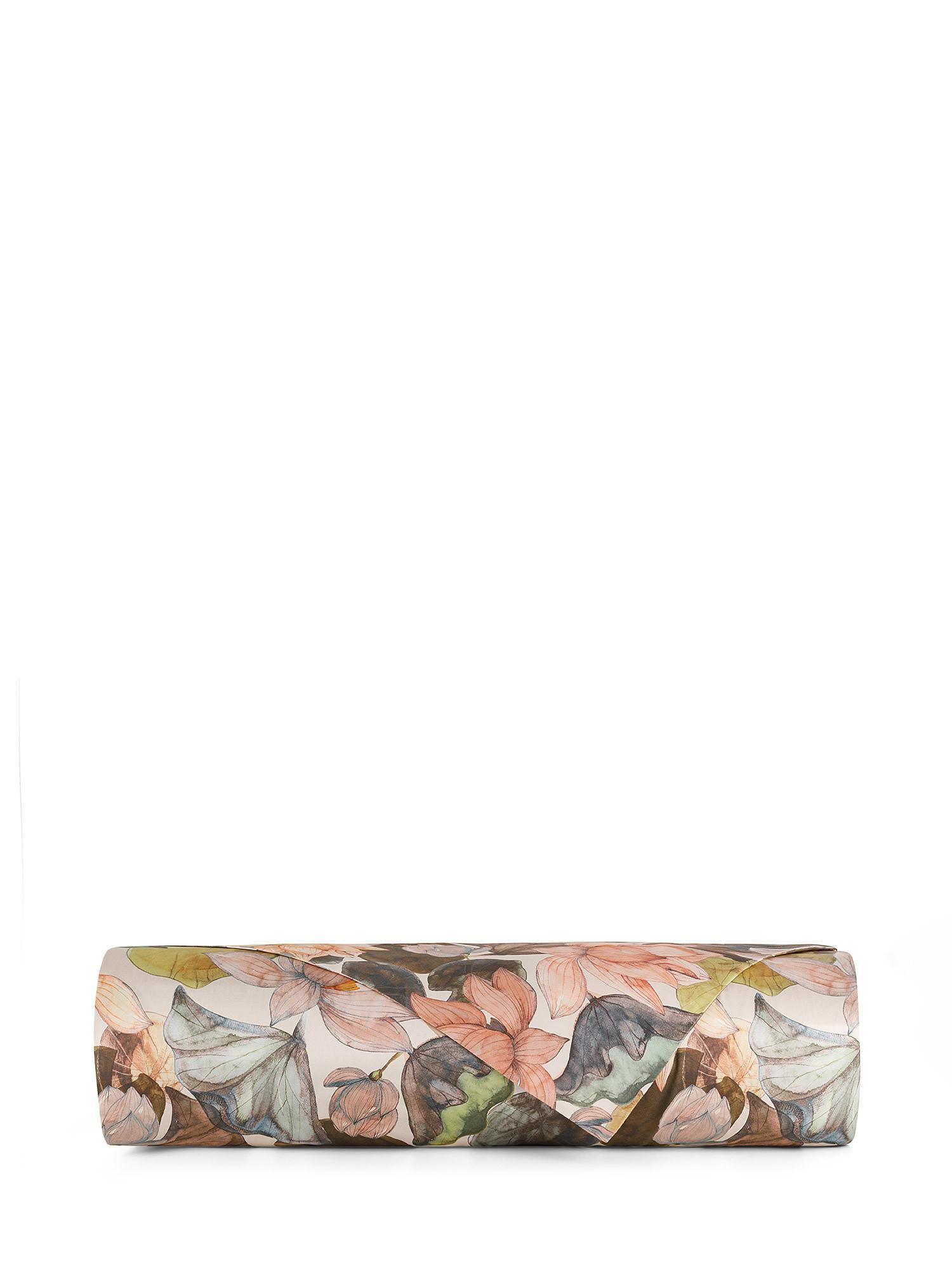 Lenzuolo liscio raso di cotone fantasia ninfea, Rosa, large image number 1