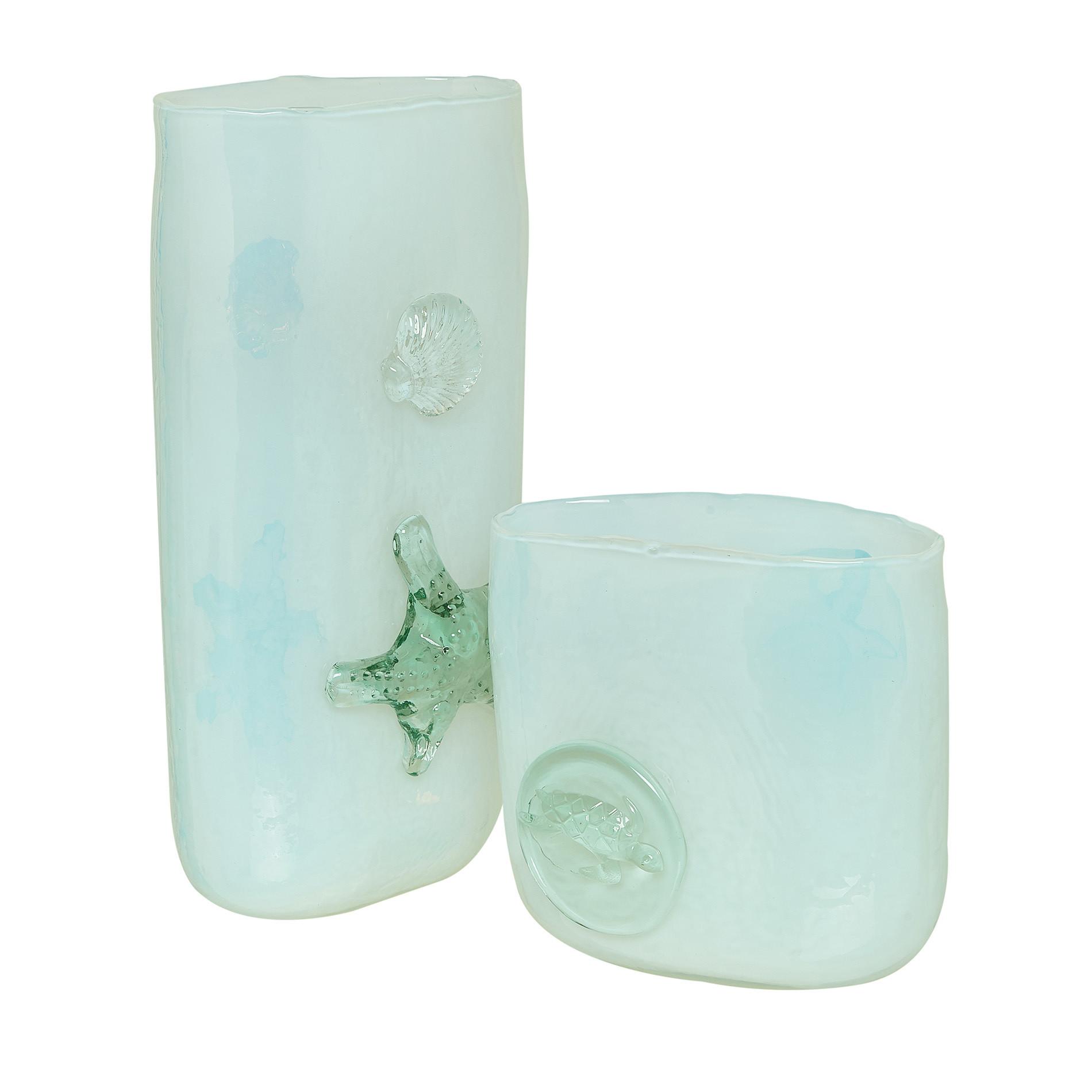 Vaso vetro colorato in pasta decori marini, Trasparente, large image number 1