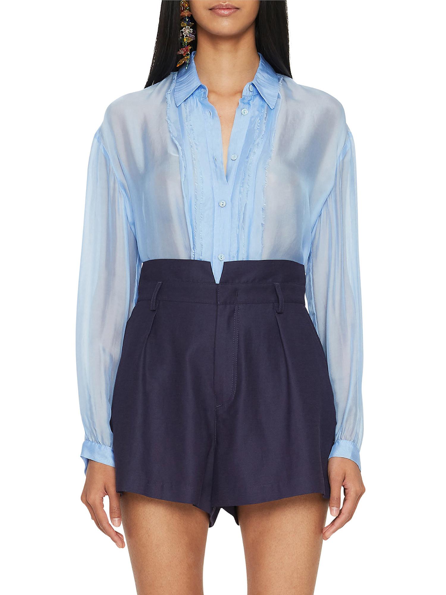 Camicia in chiffon Vanilla, Azzurro, large image number 3
