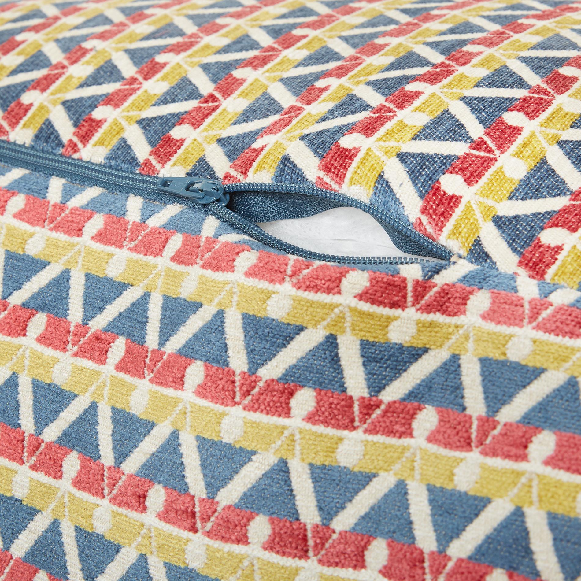 Pouf tessuto jacquard motivo geometrico, Multicolor, large image number 1
