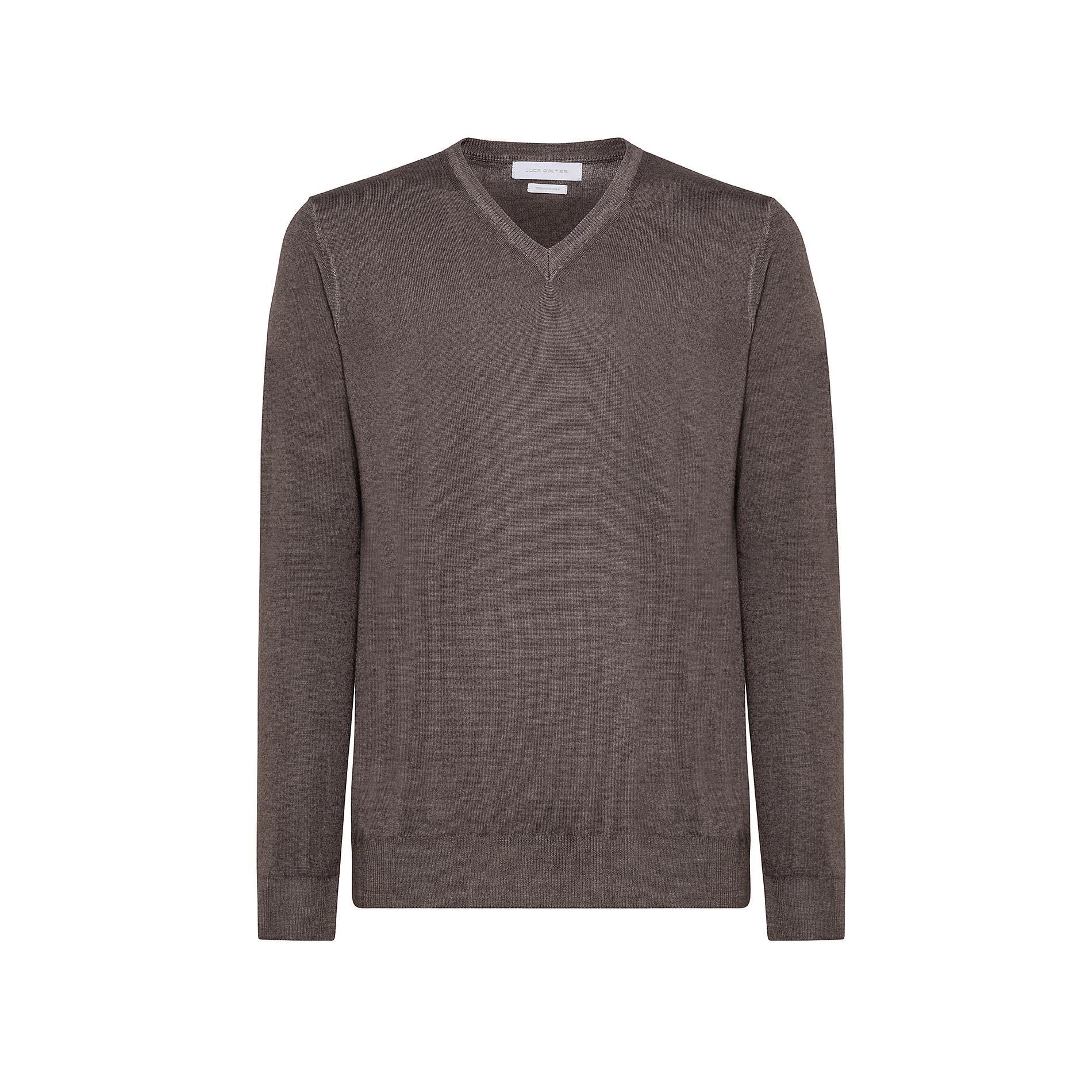 Pullover lana merinos scollo a V, Marrone scuro, large image number 0