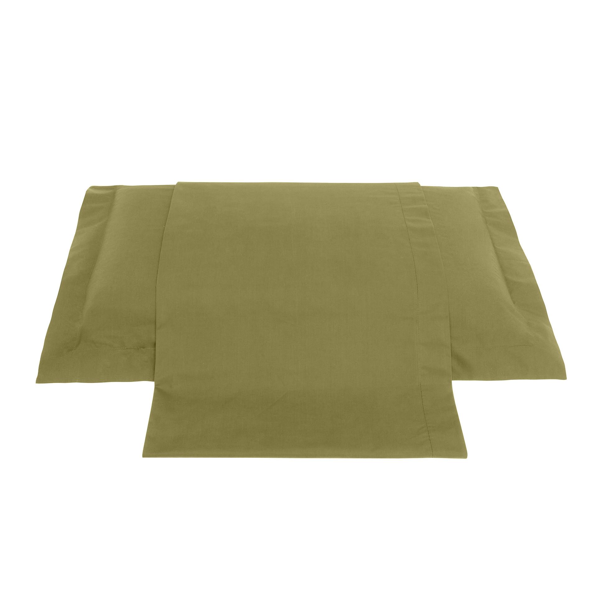 Lenzuolo liscio in percalle tinta unita Zefiro, Verde oliva, large image number 0