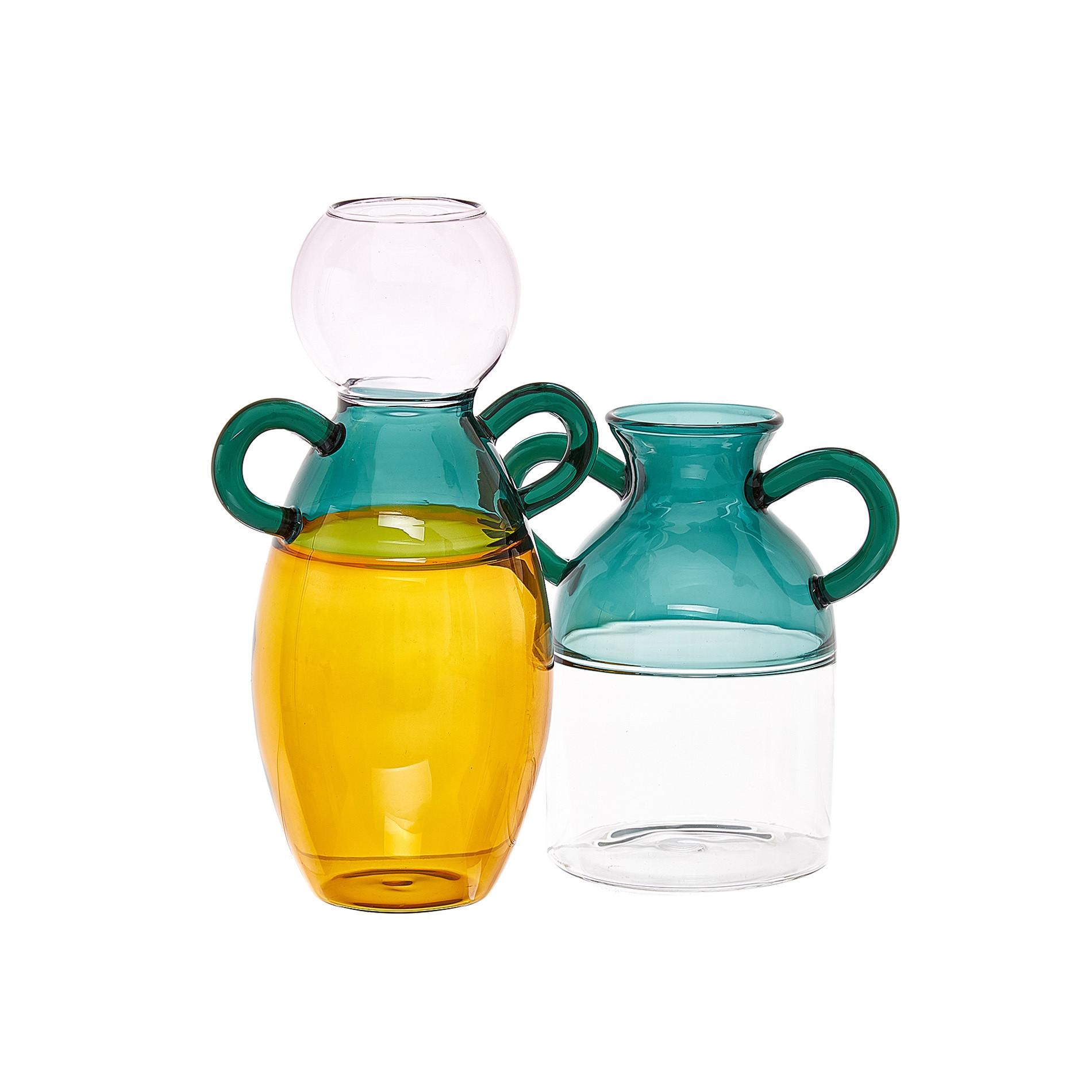 Vaso vetro manici colorati, Trasparente, large image number 1