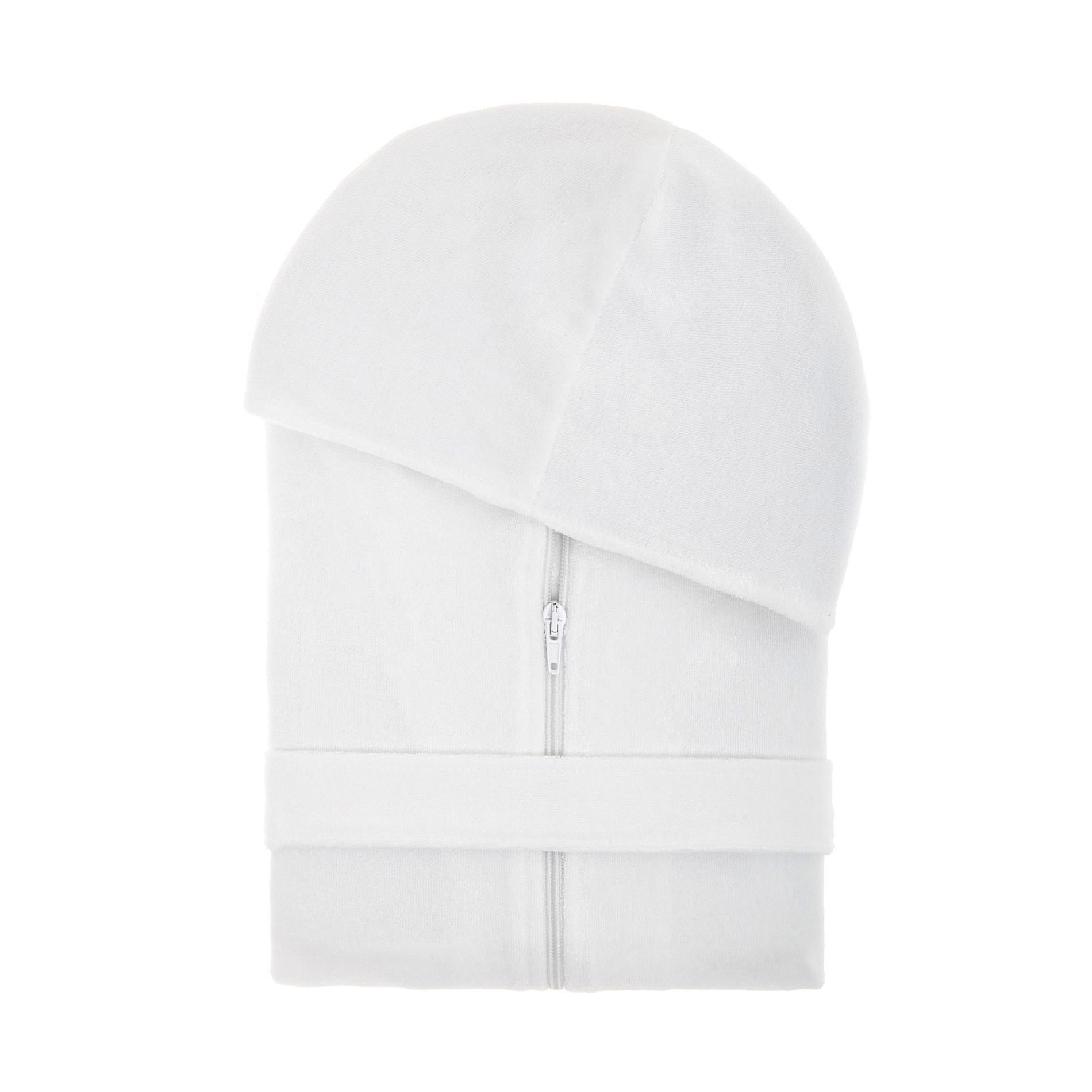 Accappatoio cotone con zip tinta unita, Bianco, large image number 0