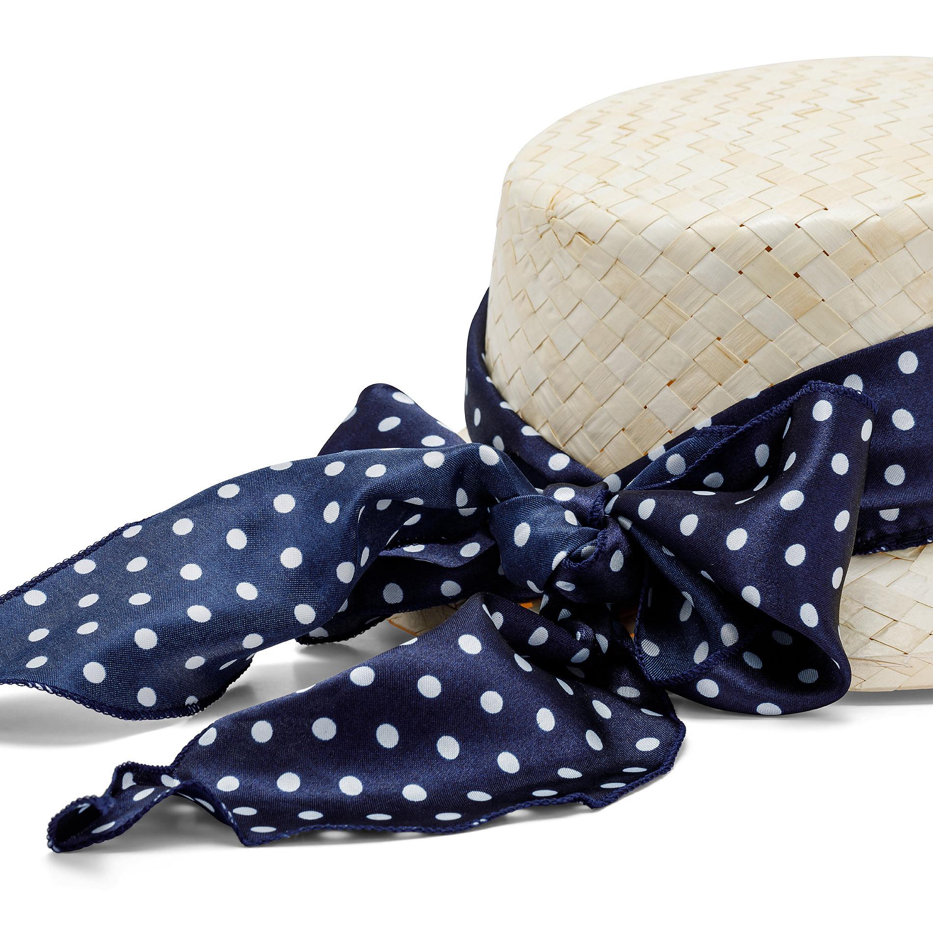 Cappello di paglia con banda a pois Koan, Beige chiaro, large image number 1