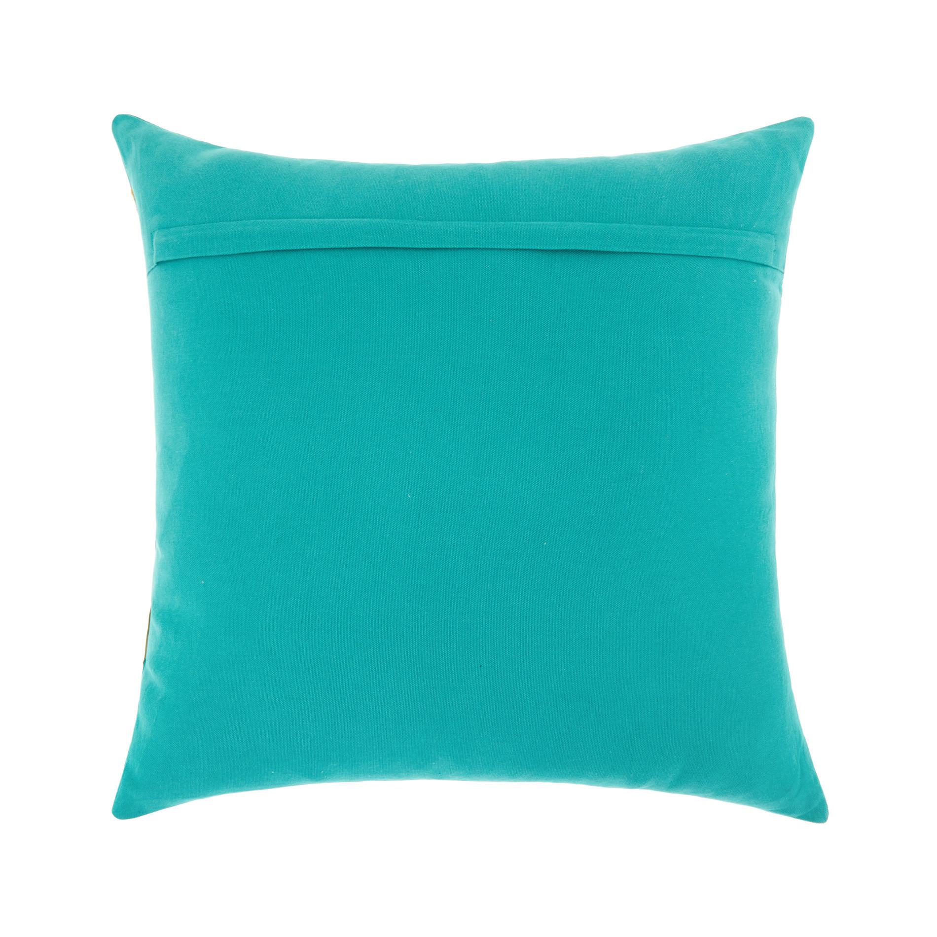 Cuscino ricamo foglie 45x45cm, Verde acqua, large image number 1