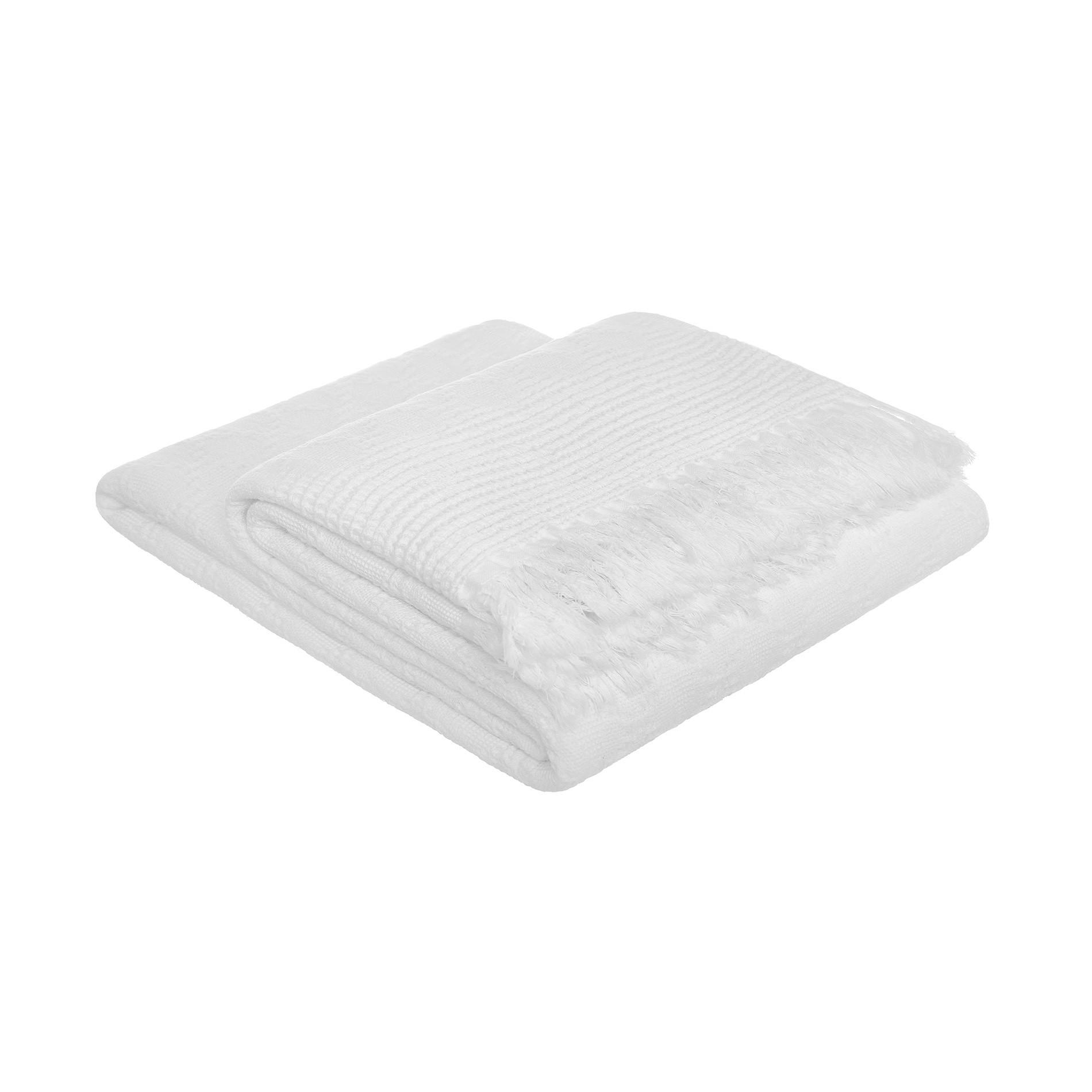 Plaid misto lino e cotone a rombi, Bianco, large image number 1