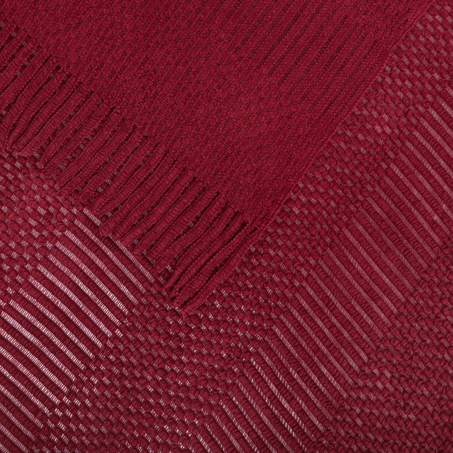 Plaid tinta unita con frange, Rosso scuro, large image number 1