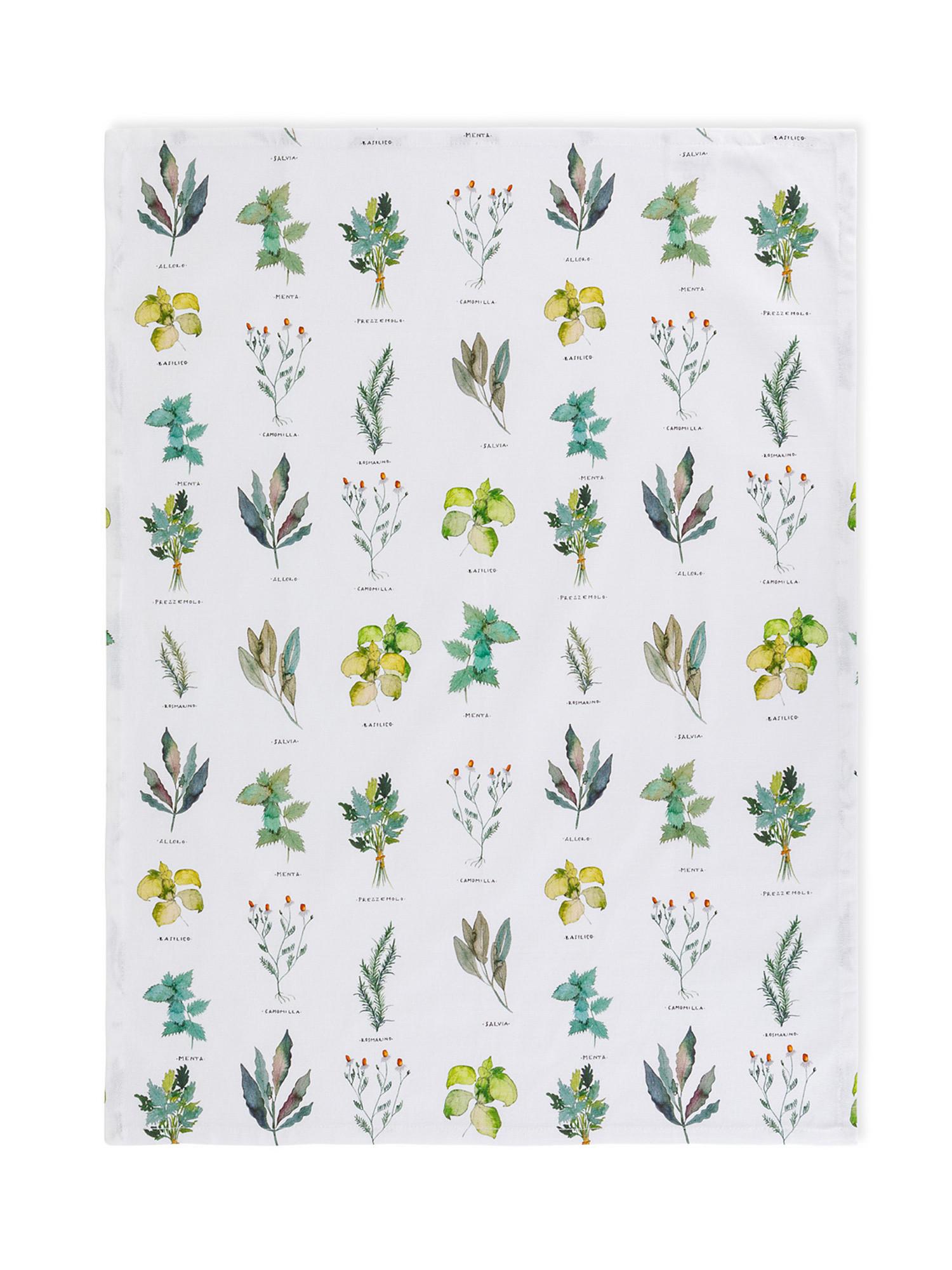 Set 3 strofinacci puro cotone organico stampa erbe, Verde, large image number 1