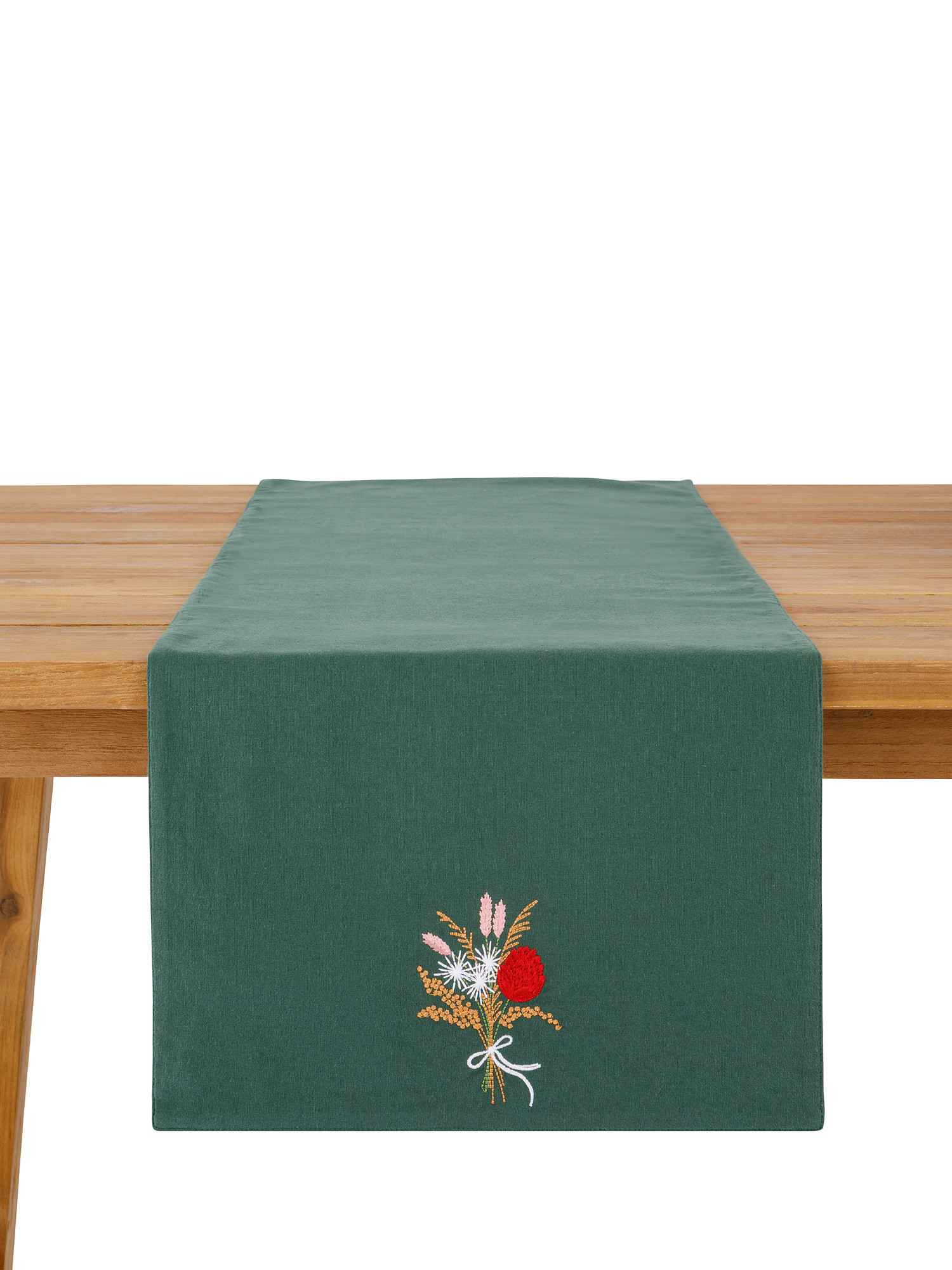 Runner puro cotone ricamo fiore, Verde, large image number 2