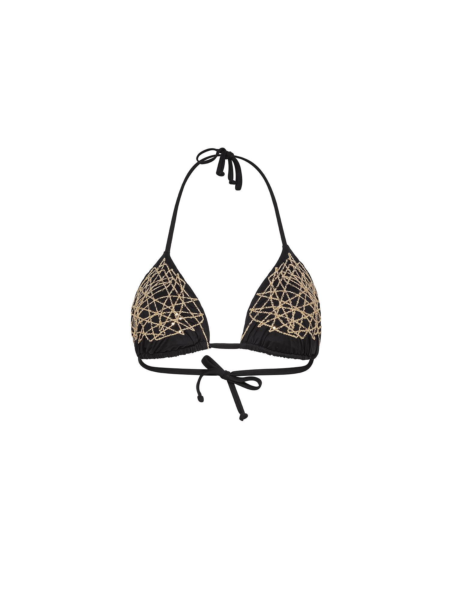 Top bikini triangolo ricamato, Nero, large image number 0