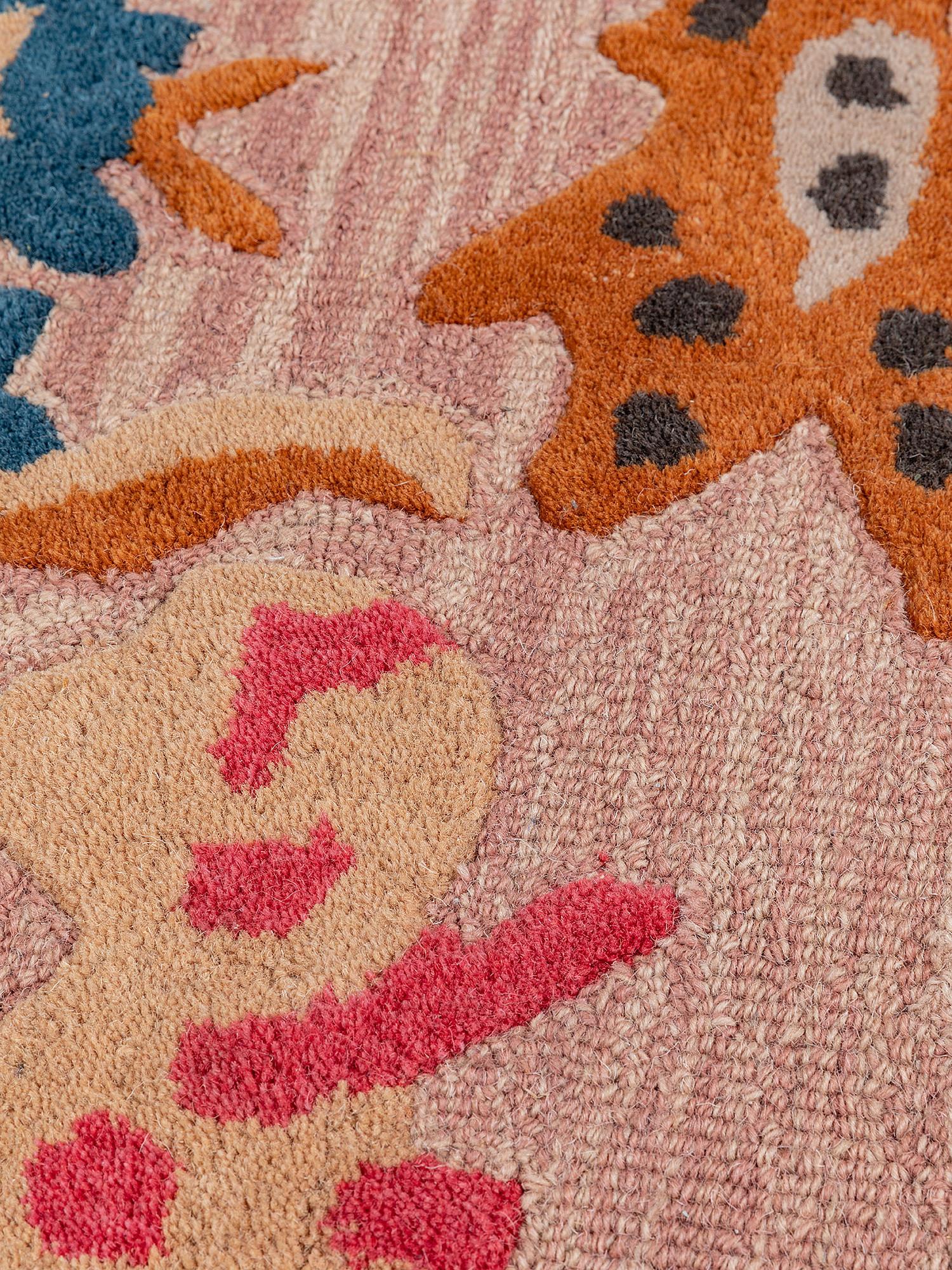 Tappeto lana motivo floreale lavorato a mano, Rosa, large image number 1