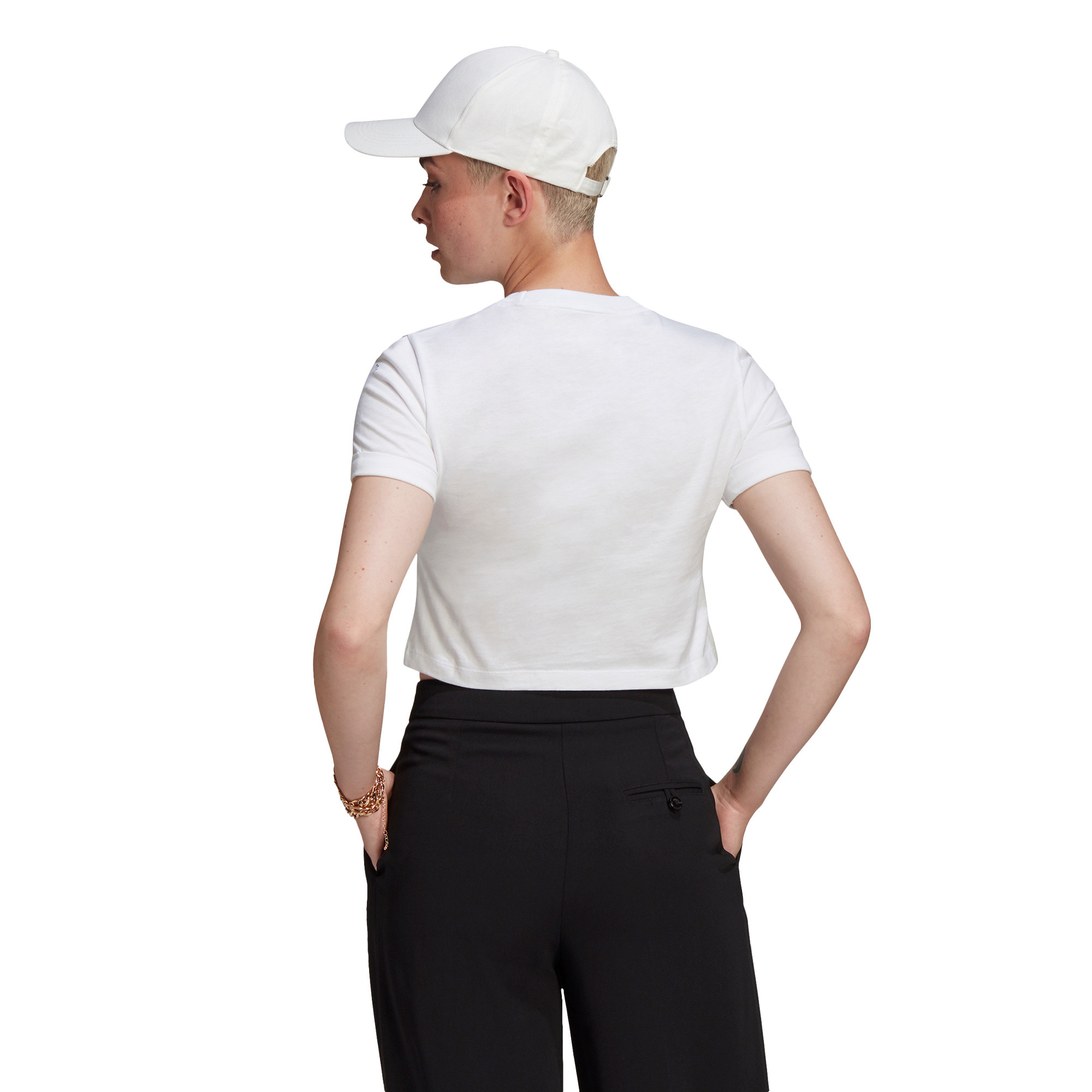 T-shirt adicolor Classics Roll-Up Sleeve Crop, Bianco, large image number 4