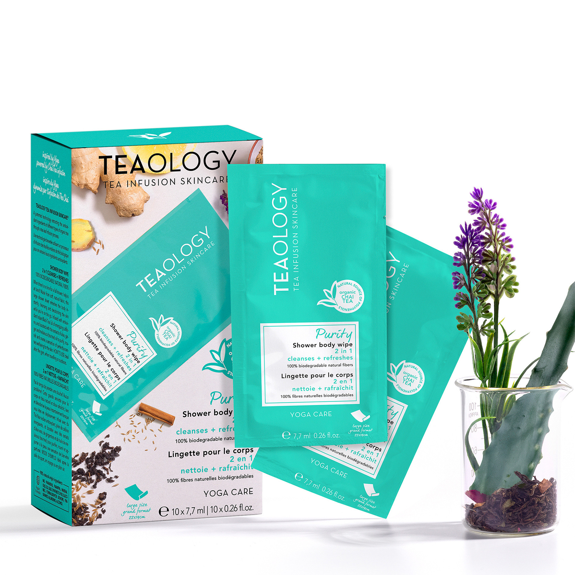 Teaology Purity Shower Body Wipe Multipack 7,7 ml  X 10, Azzurro, large image number 2