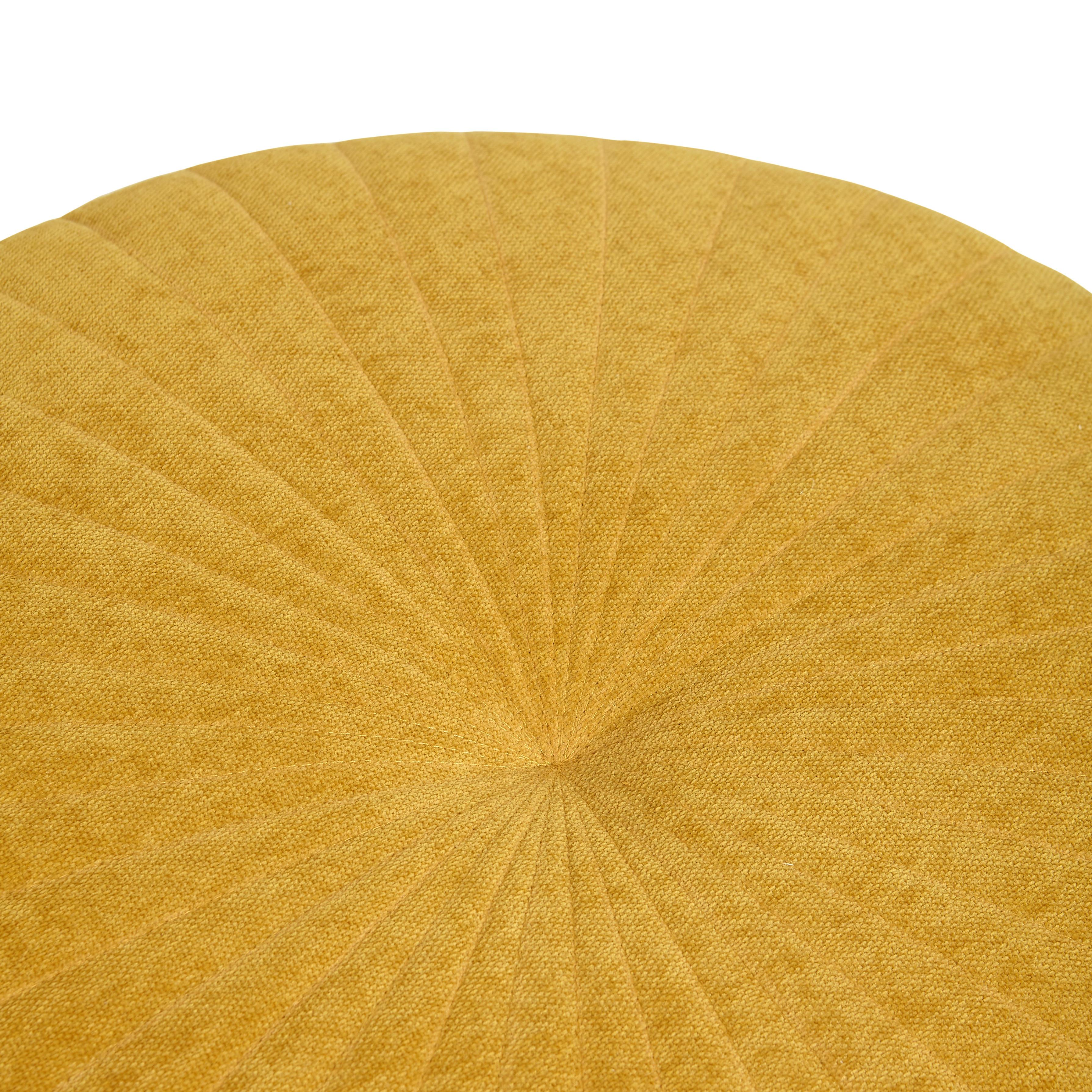 Pouf rotondo in ciniglia Sun, Giallo, large image number 1