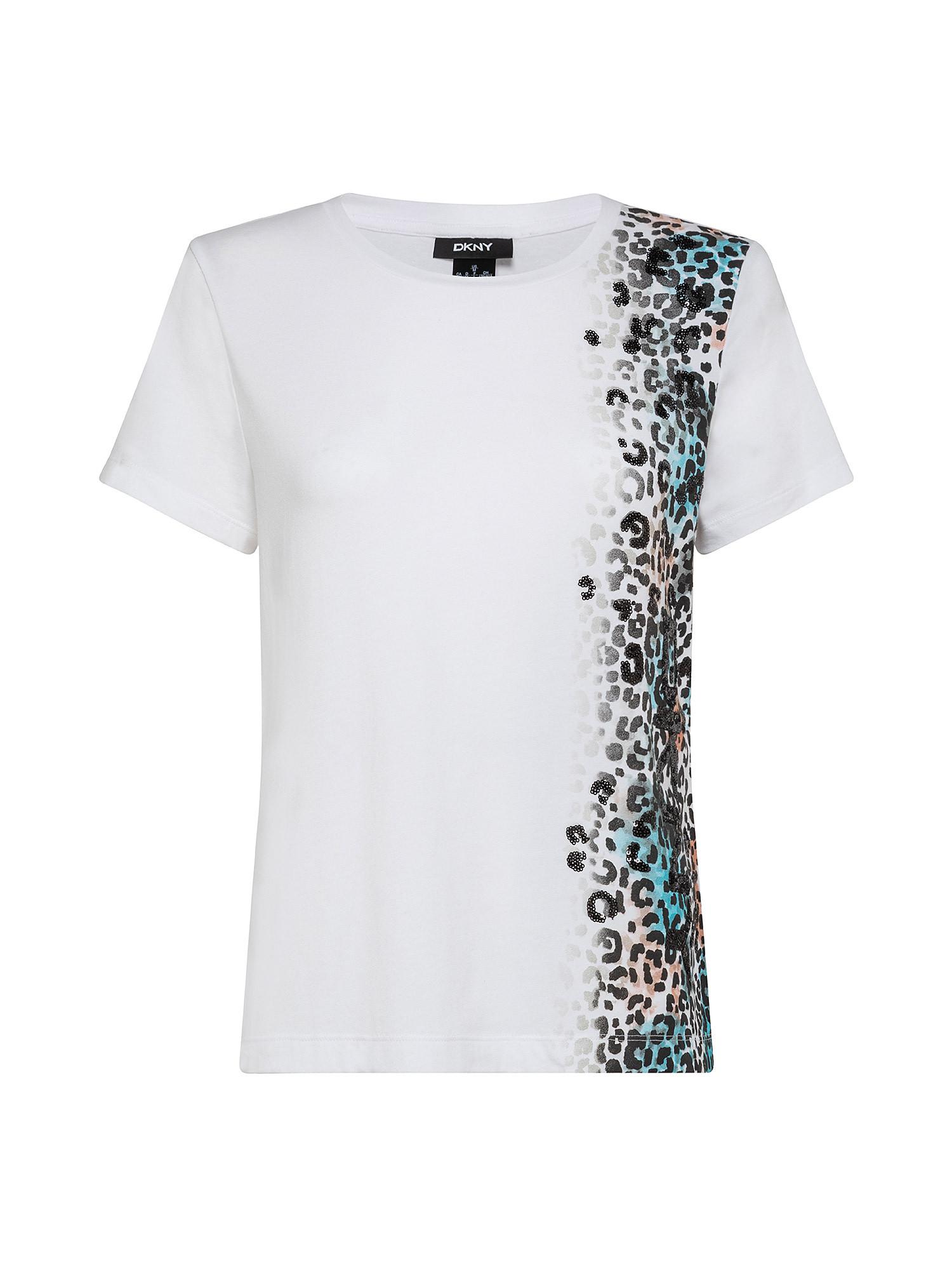 T-Shirt con logo leopardato, Bianco, large image number 0