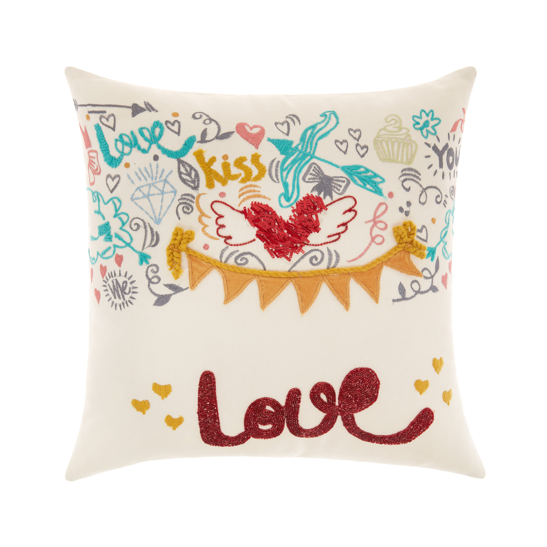 Cuscino Love con ricami 45x45cm, Bianco, large image number 0