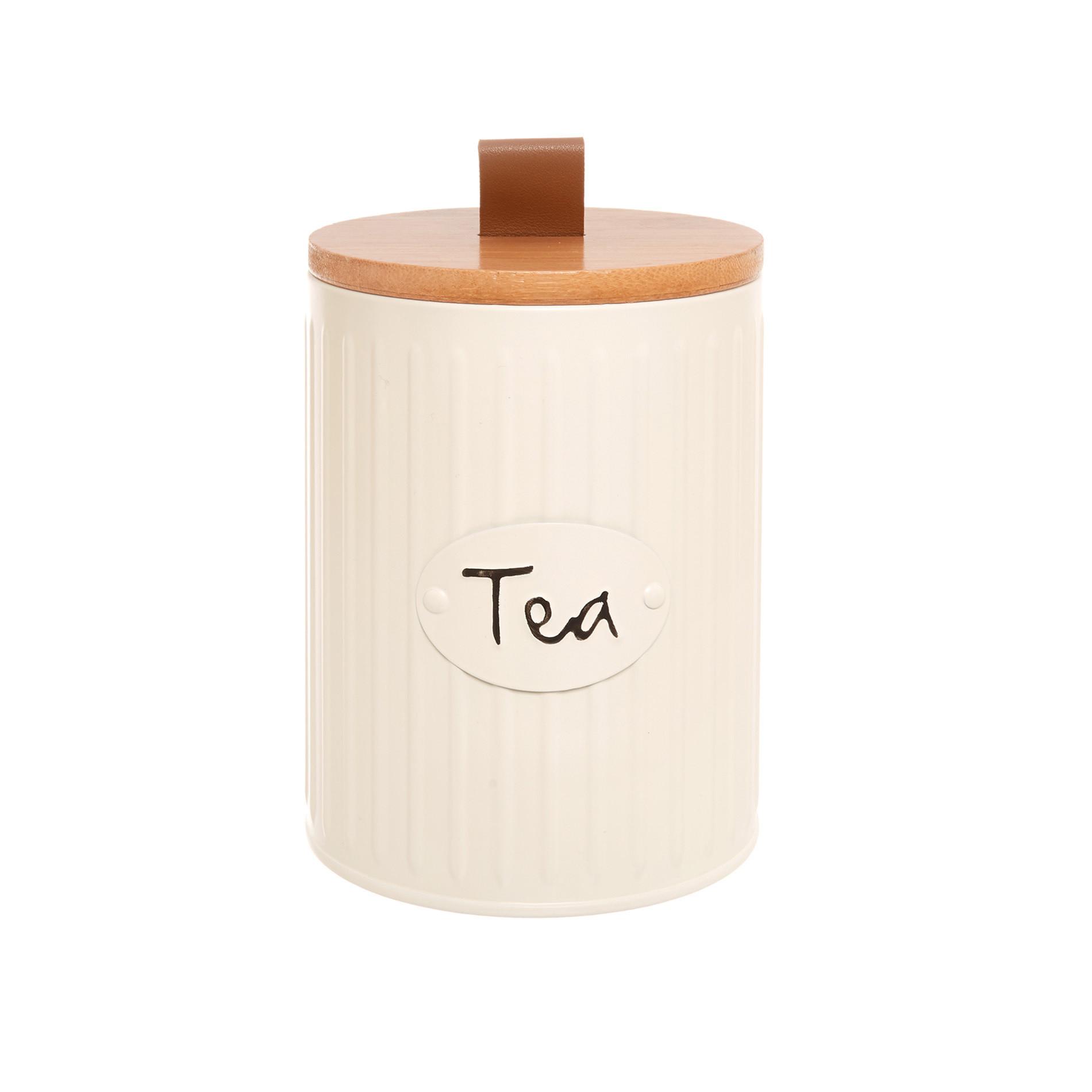Barattolo in metallo smaltato Tea, Beige scuro, large image number 0