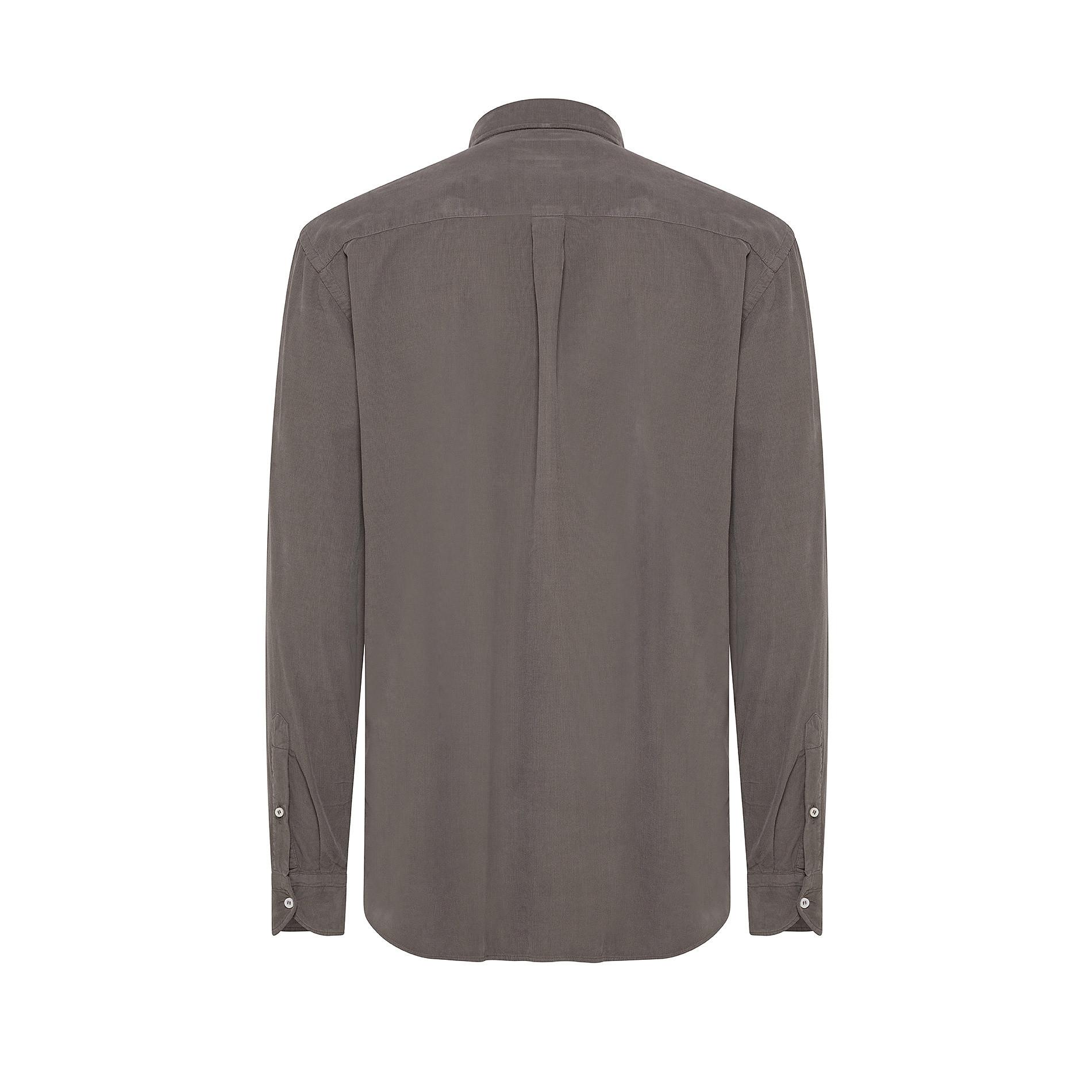 Camicia button-down regular fit in velluto, Grigio chiaro, large image number 1