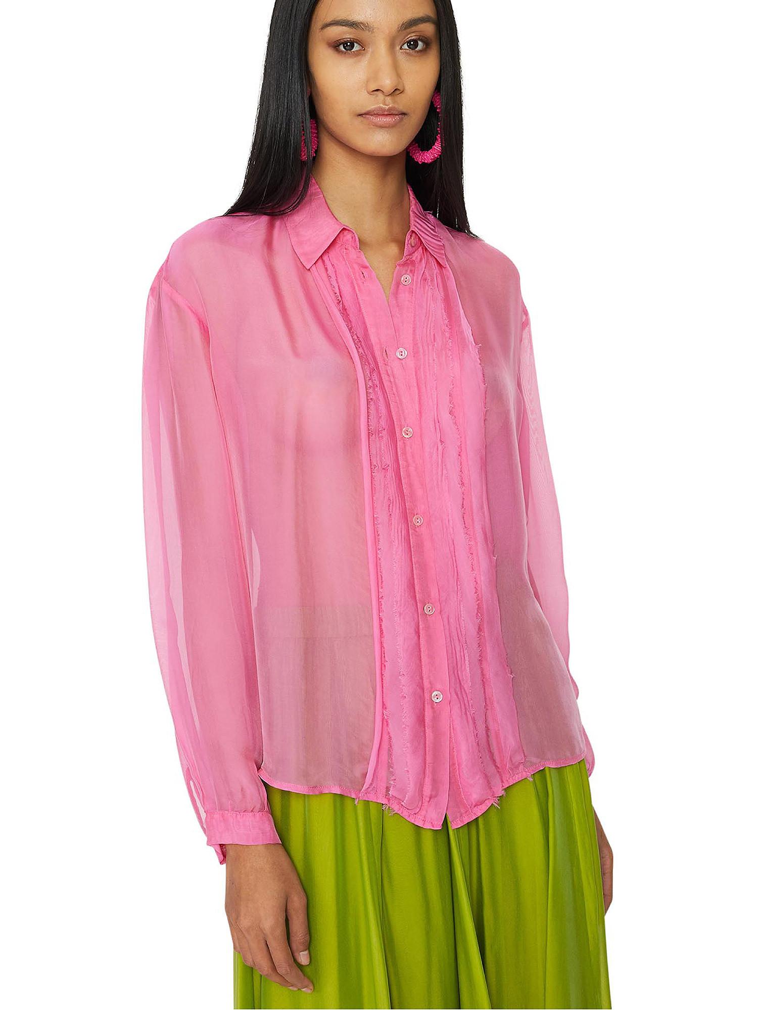 Camicia in chiffon Vanilla, Rosa fuxia, large image number 2