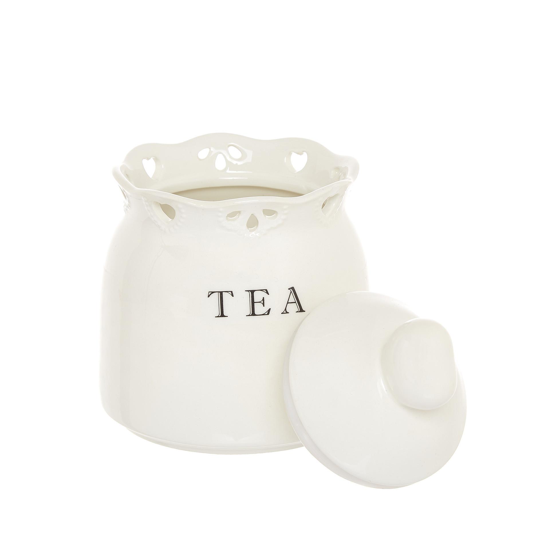 Barattolo tea ceramica traforata, Bianco, large image number 1