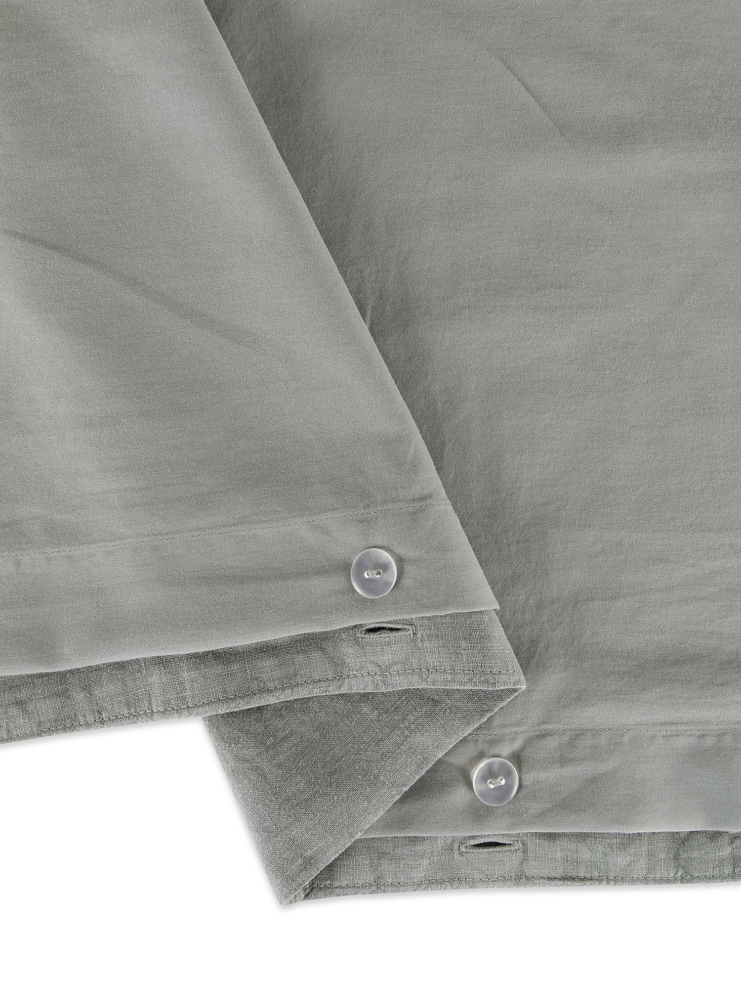 Copripiumino lino lavato e raso di cotone tinta unita, Verde, large image number 2