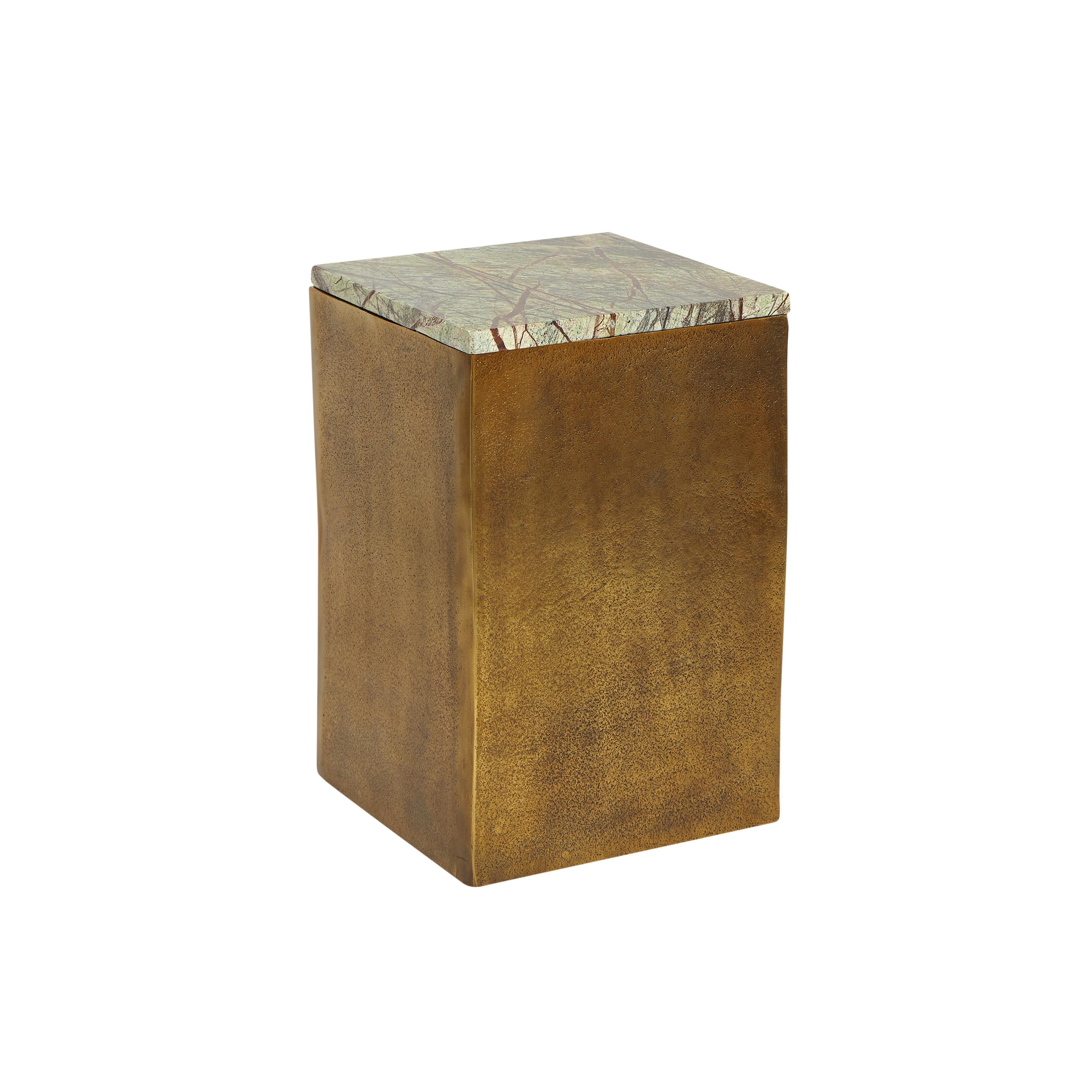 Tavolino alluminio e marmo Drum, Marrone bronzo, large image number 0