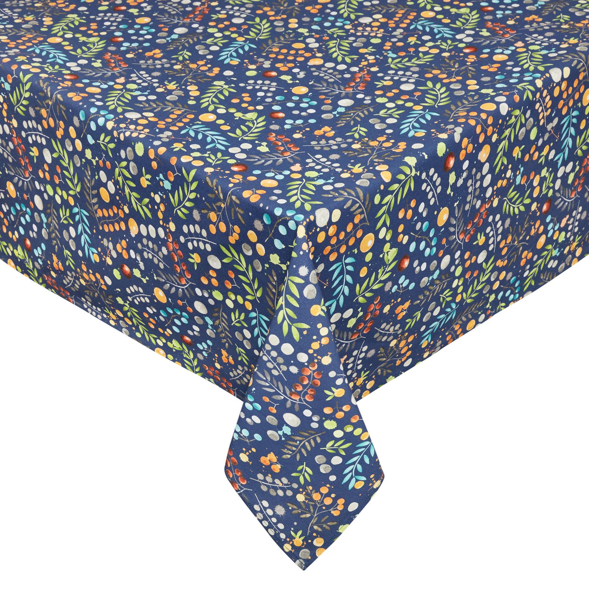 Tovaglia twill di cotone idrorepellente stampa fiori, Blu, large image number 0