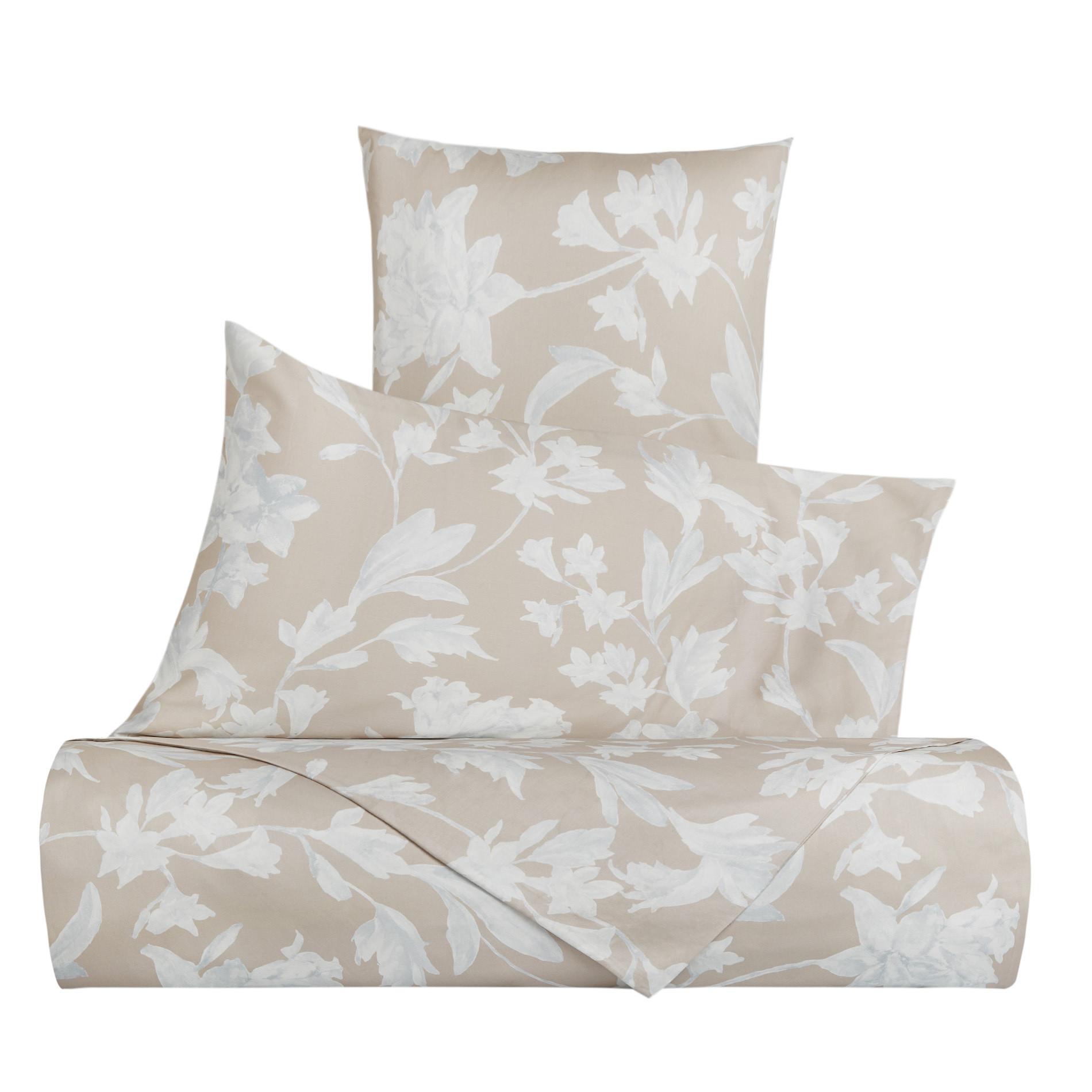Copripiumino raso di cotone motivo floreale Portofino, Beige, large image number 0
