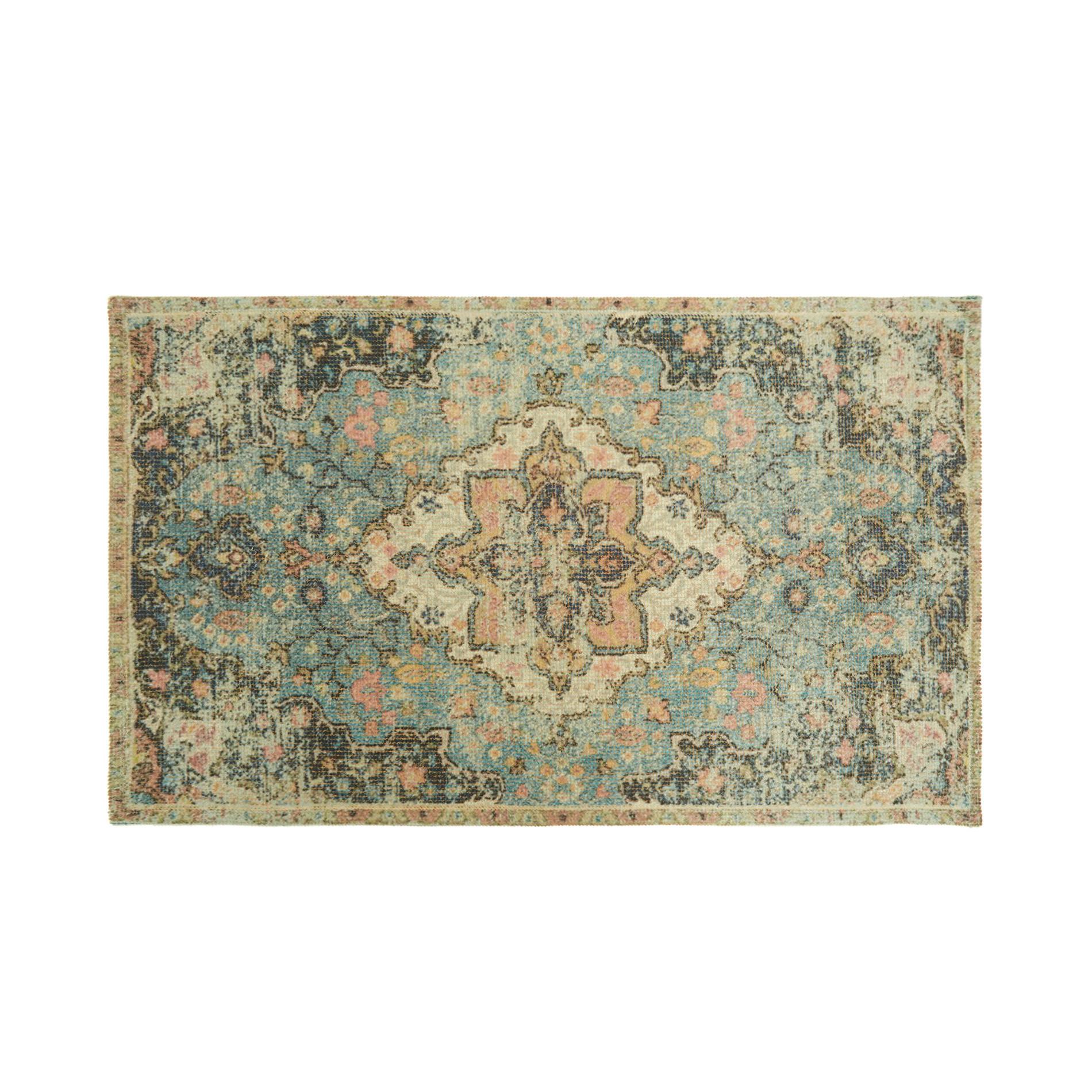 Tappeto bagno misto cotone effetto kilim, Multicolor, large image number 0